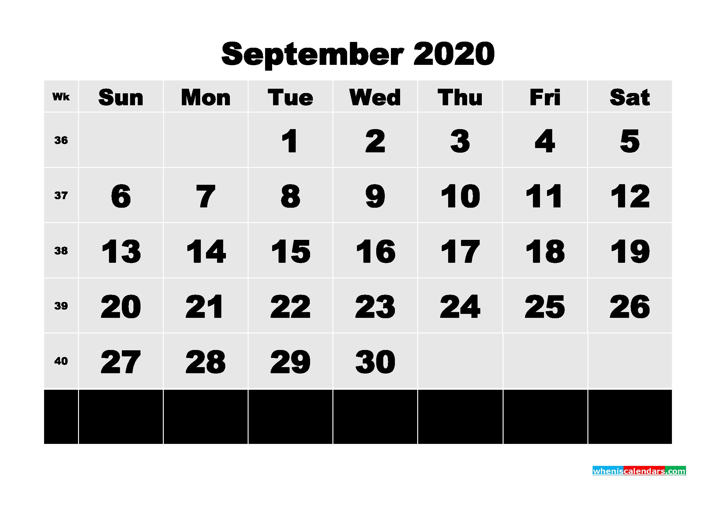 Free Printable Calendar September 2020 PDF, Word - No.m20b81