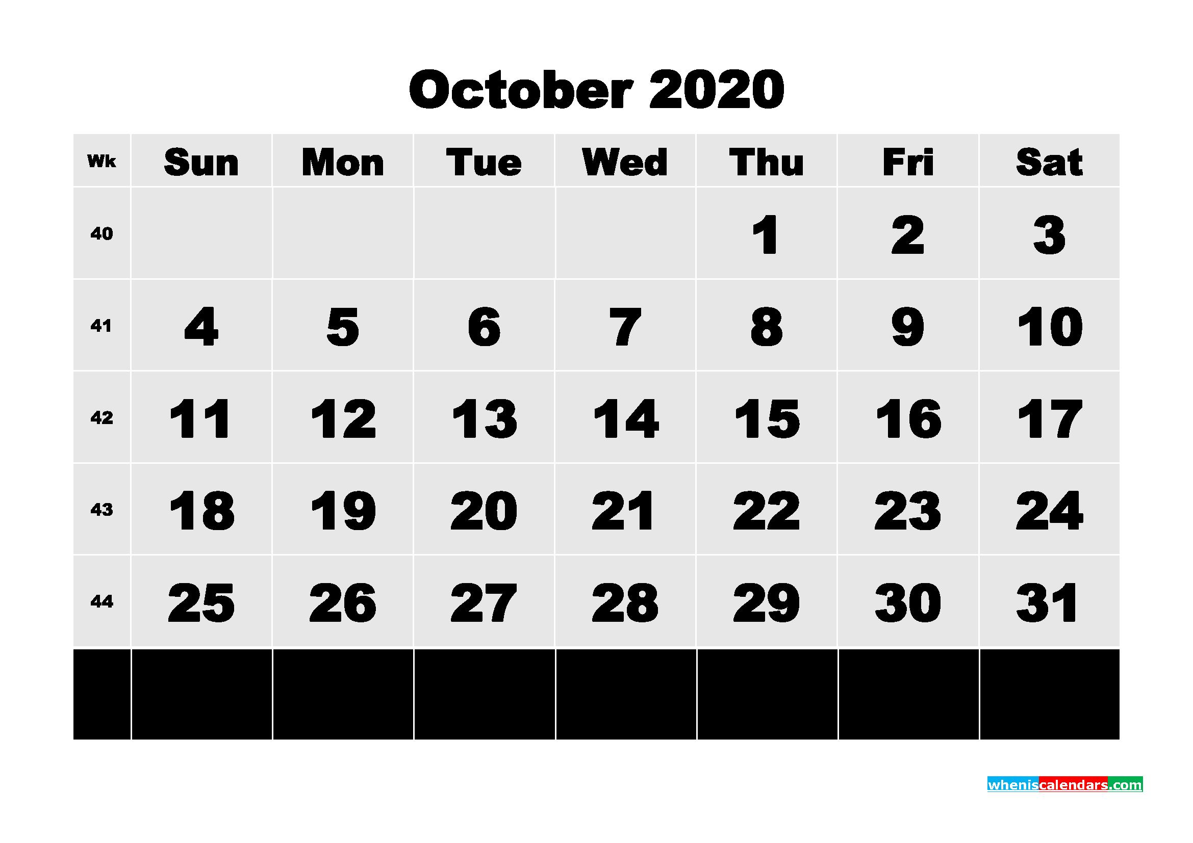 Free Printable Calendar October 2020 PDF, Word - No.m20b82