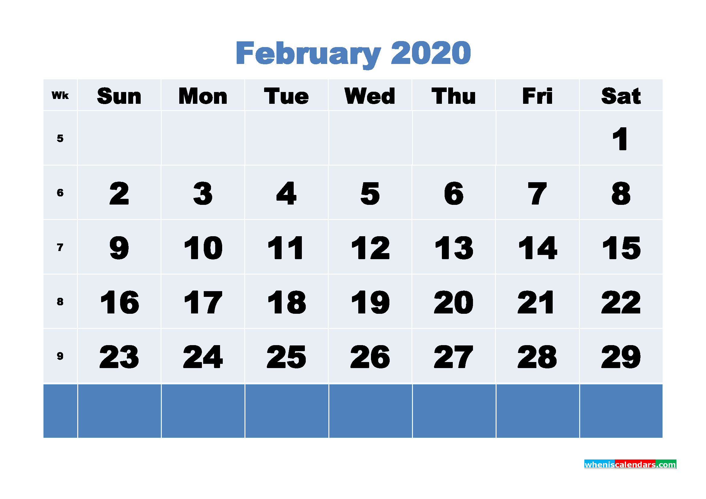 February Printable Calendar 2020 PDF, Word - No.m20b86