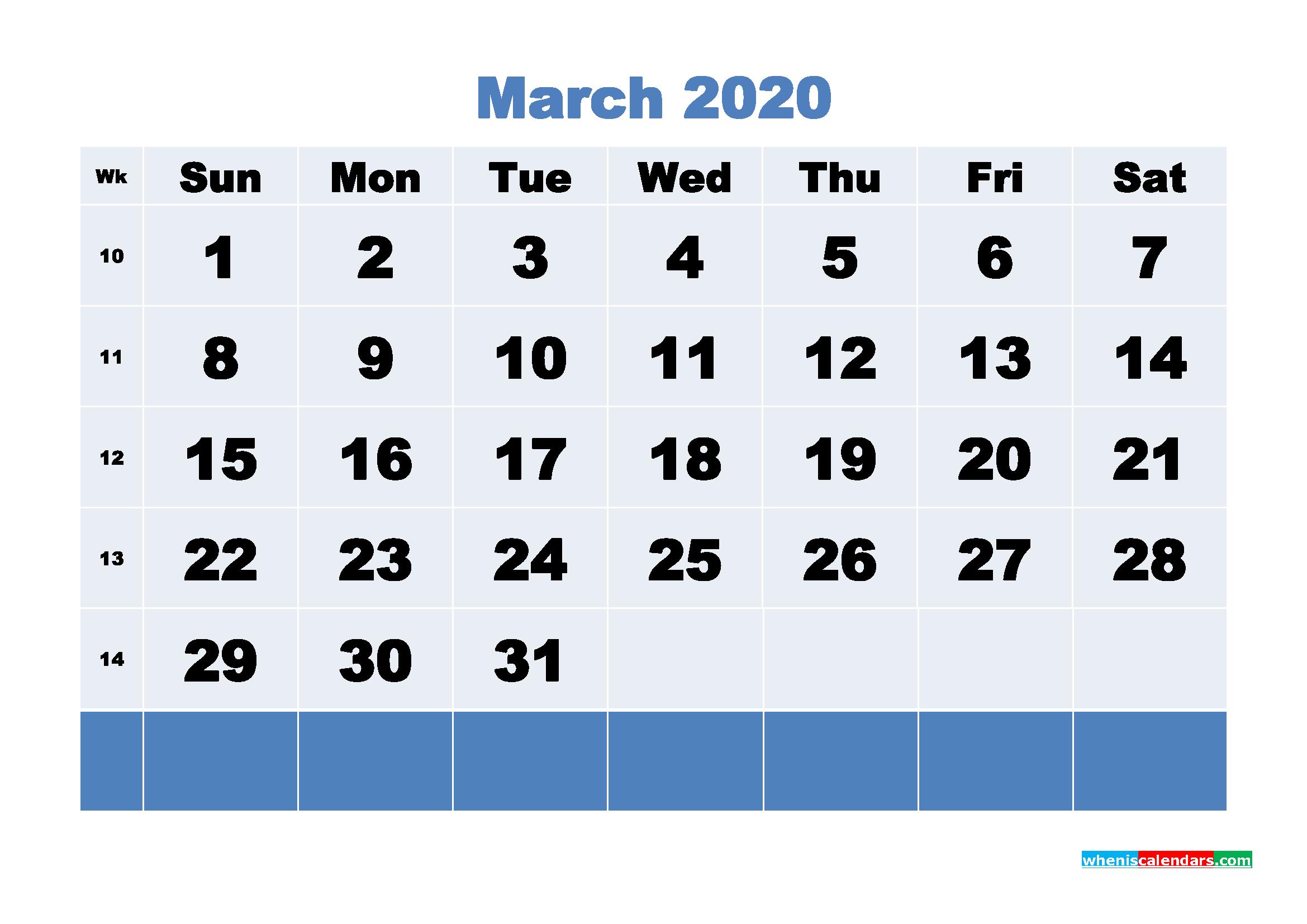 March Printable Calendar 2020 PDF, Word - No.m20b87