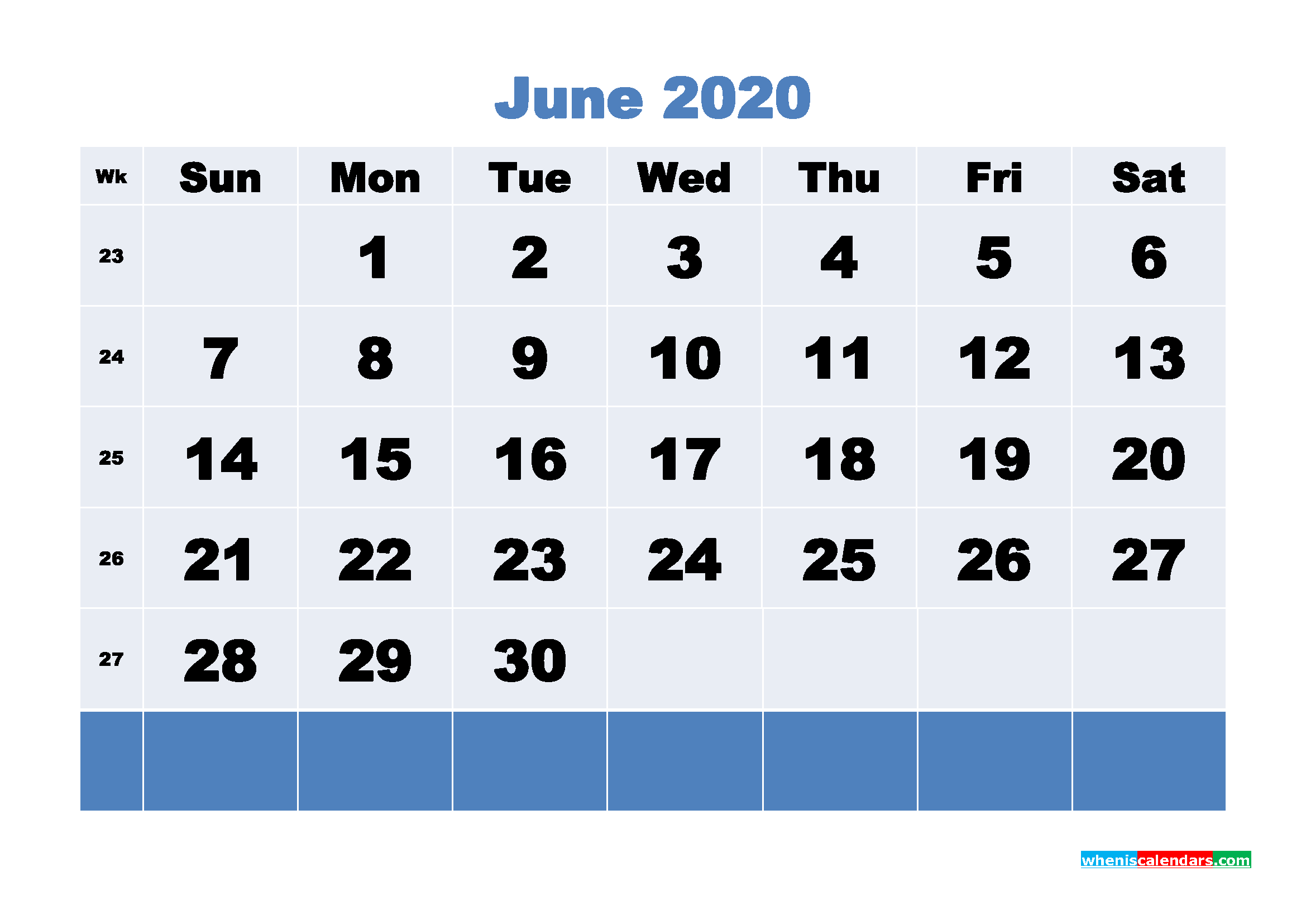 June Printable Calendar 2020 PDF, Word - No.m20b90