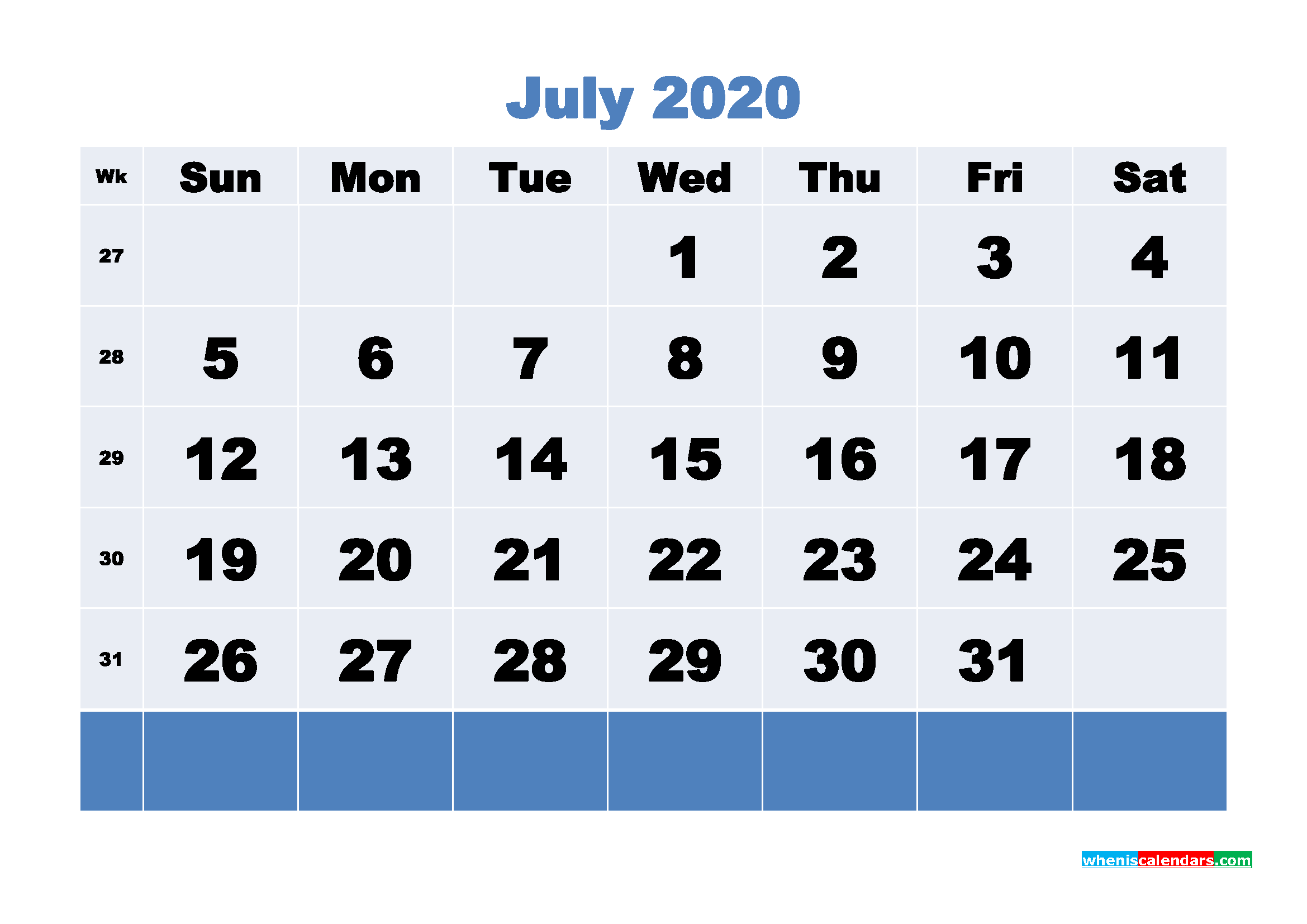 July Printable Calendar 2020 PDF, Word - No.m20b91