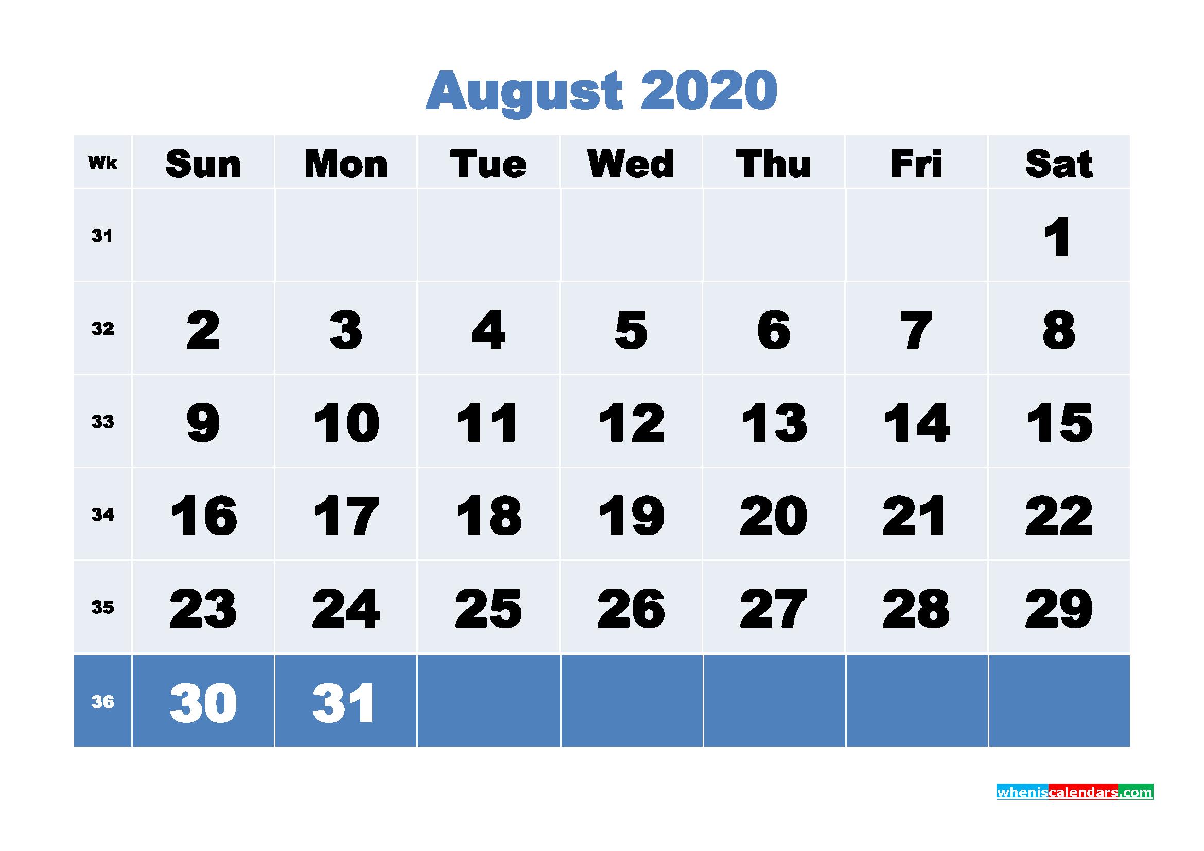 August Printable Calendar 2020 PDF, Word - No.m20b92