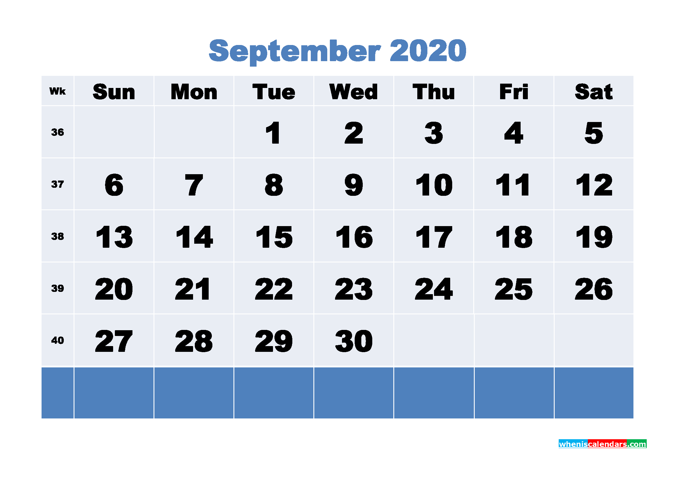 September Printable Calendar 2020 PDF, Word - No.m20b93