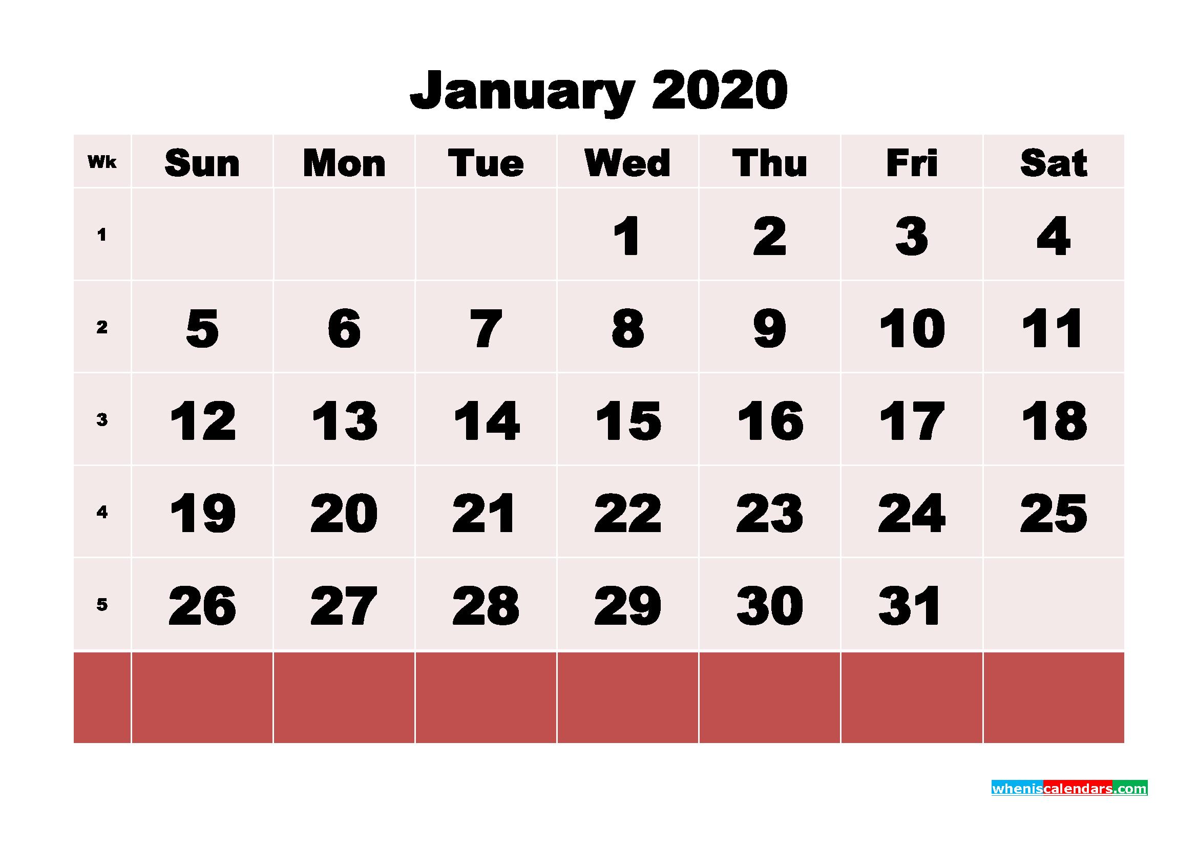 Free Printable January 2020 Calendar - No.m20b97