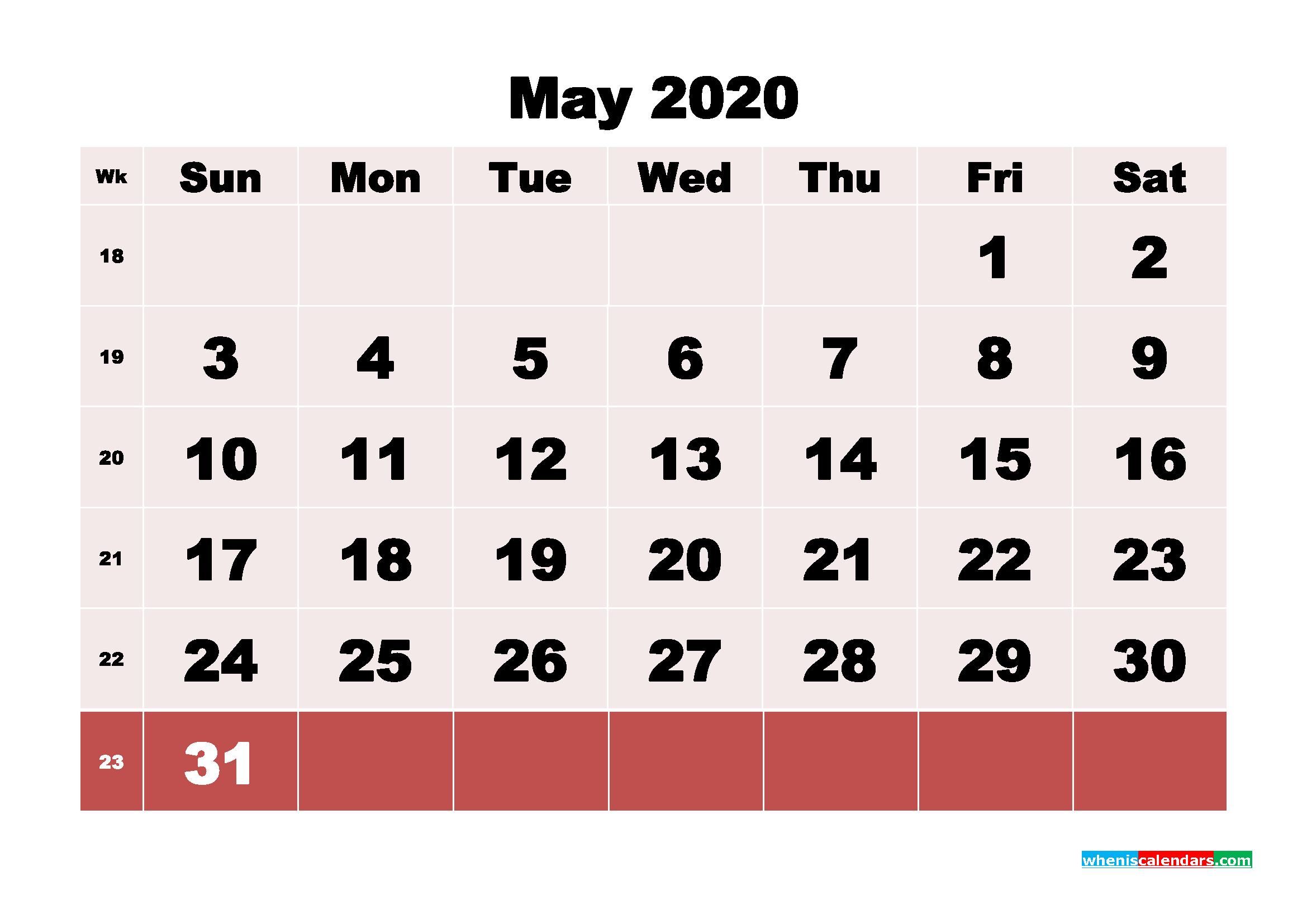 Free Printable May 2020 Calendar - No.m20b101