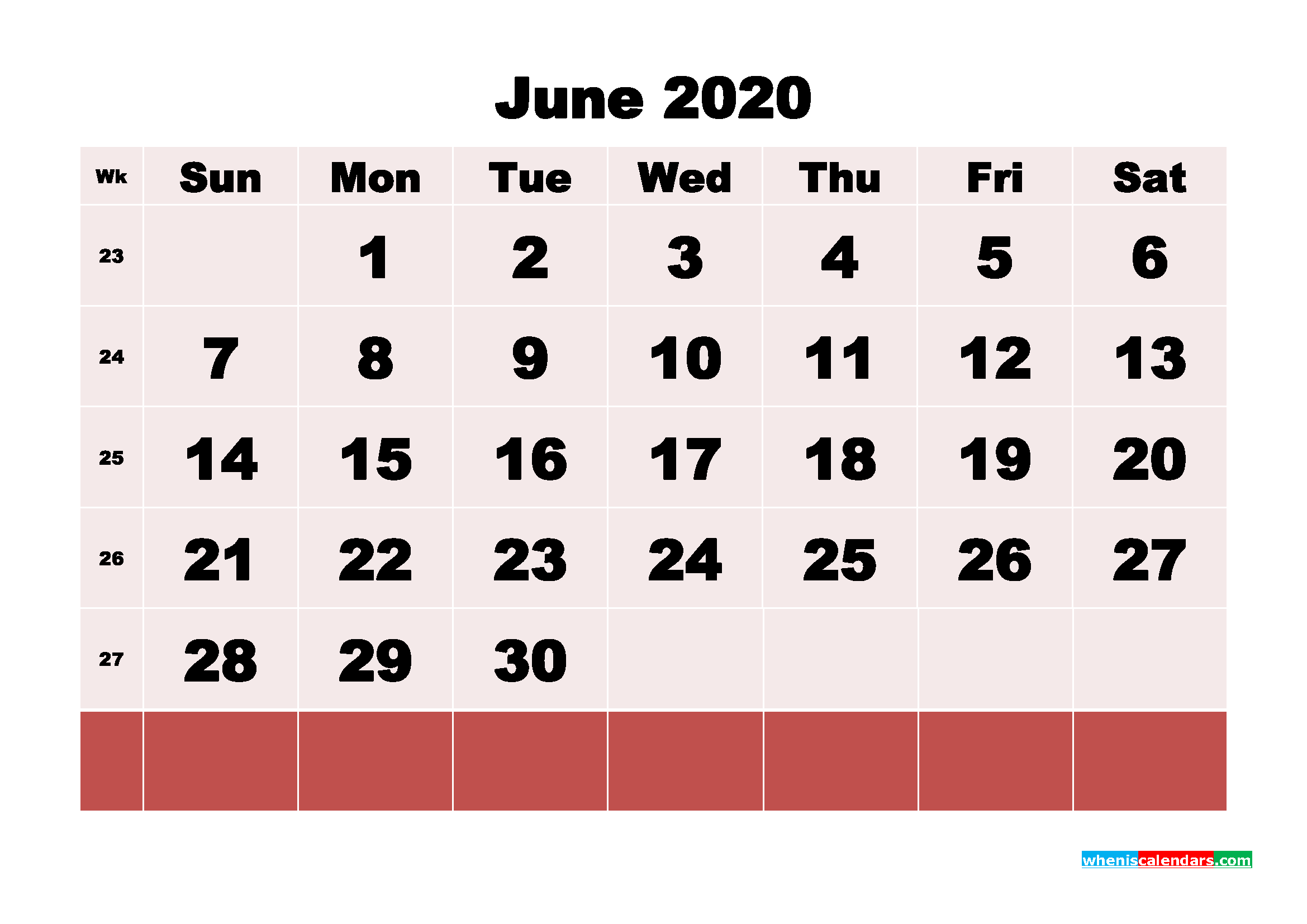 Free Printable June 2020 Calendar - No.m20b102