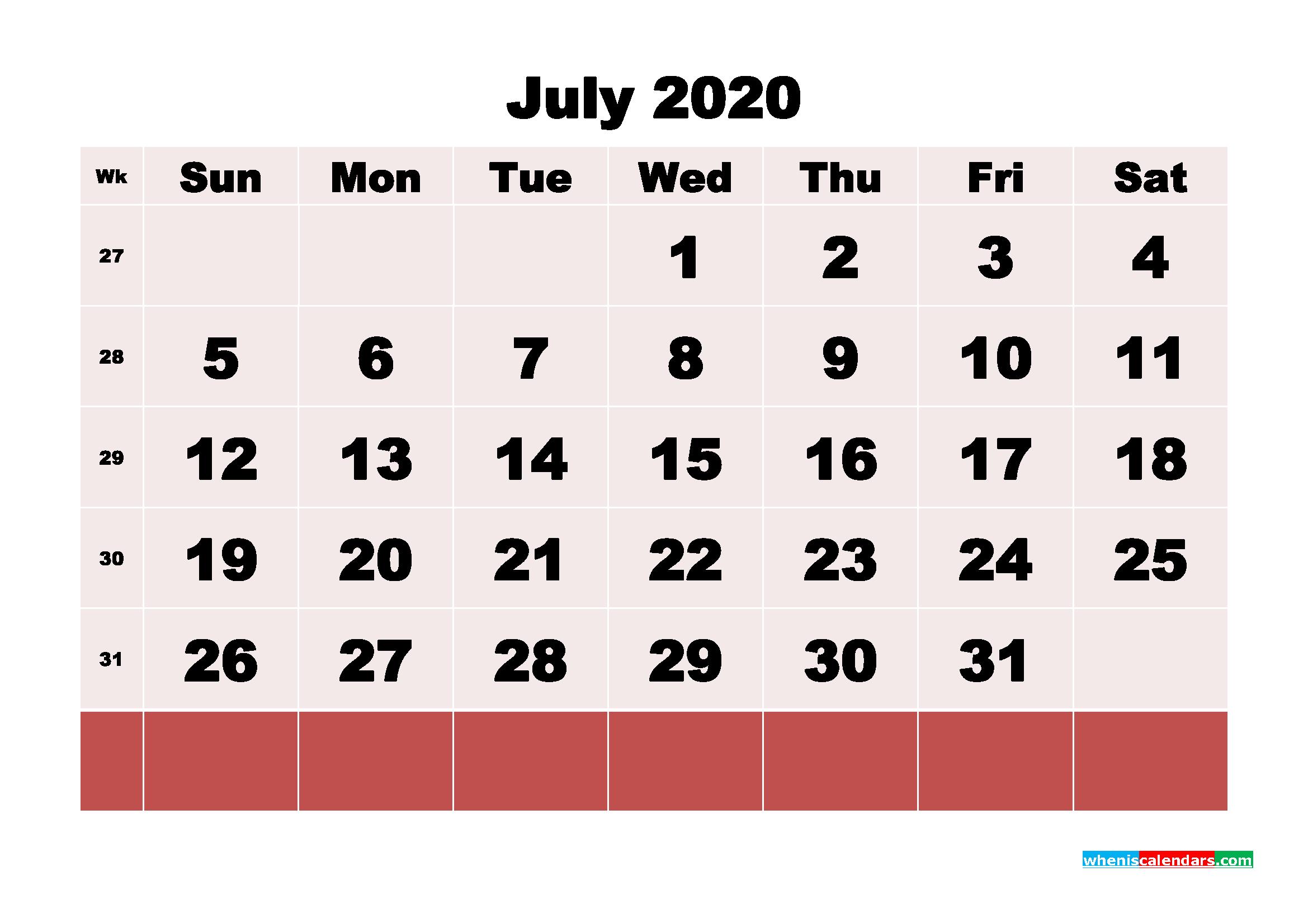 Free Printable July 2020 Calendar - No.m20b103