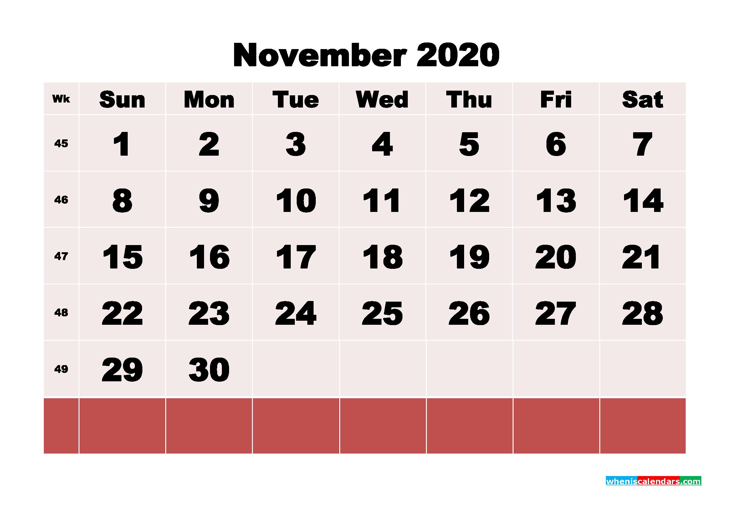 Free Printable November 2020 Calendar - No.m20b107