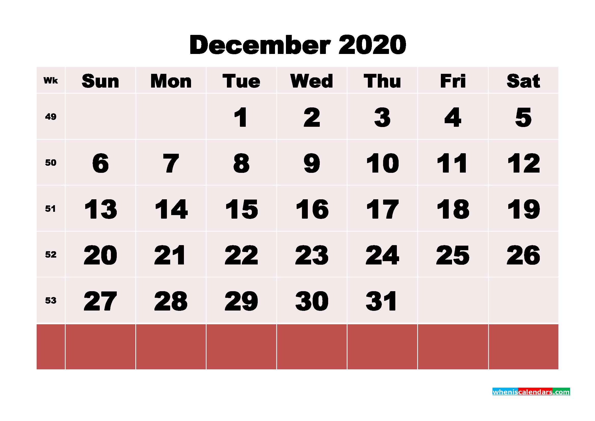 Free Printable December 2020 Calendar - No.m20b108