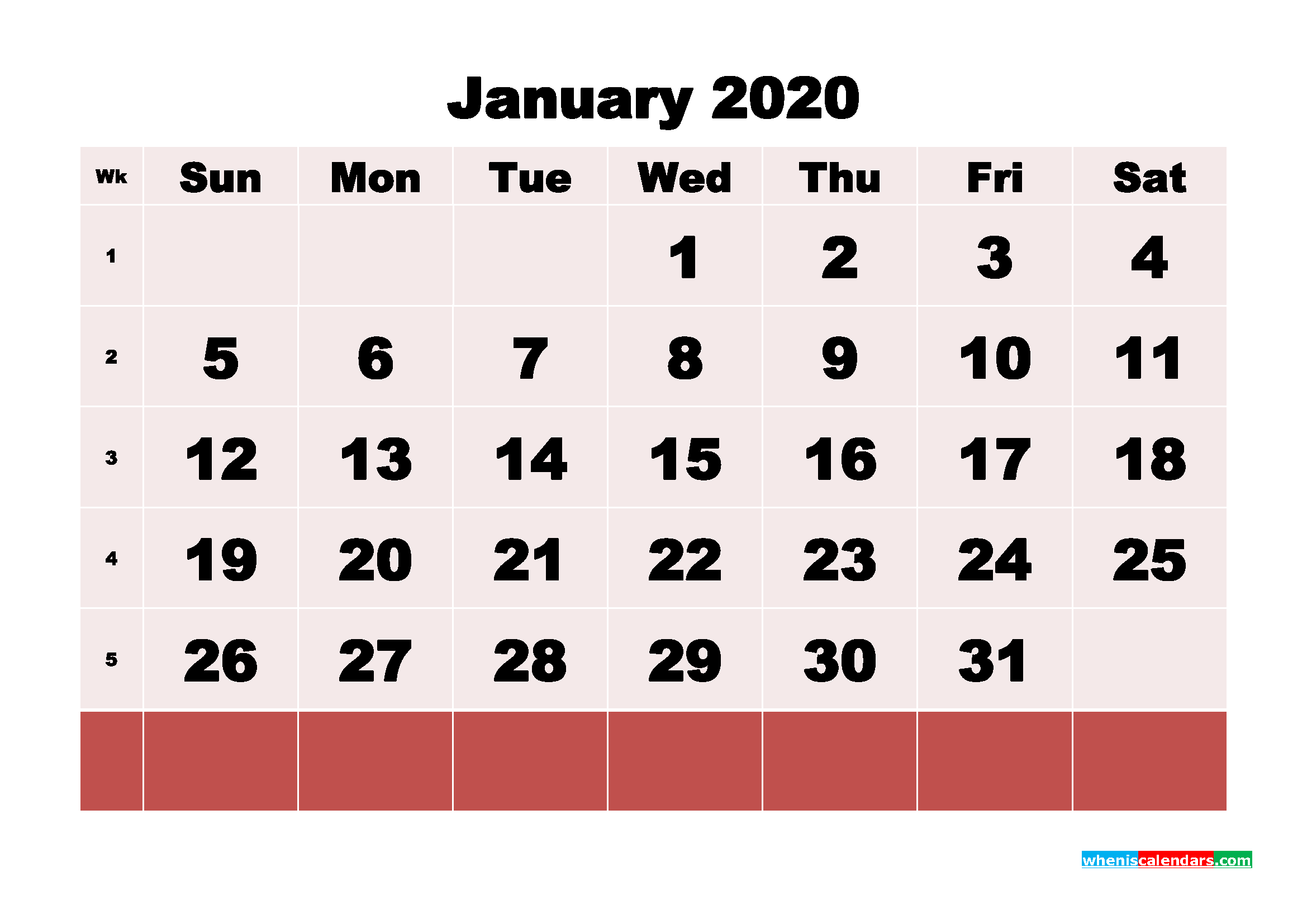 Free Blank Calendar January 2020 Printable - No.m20b109
