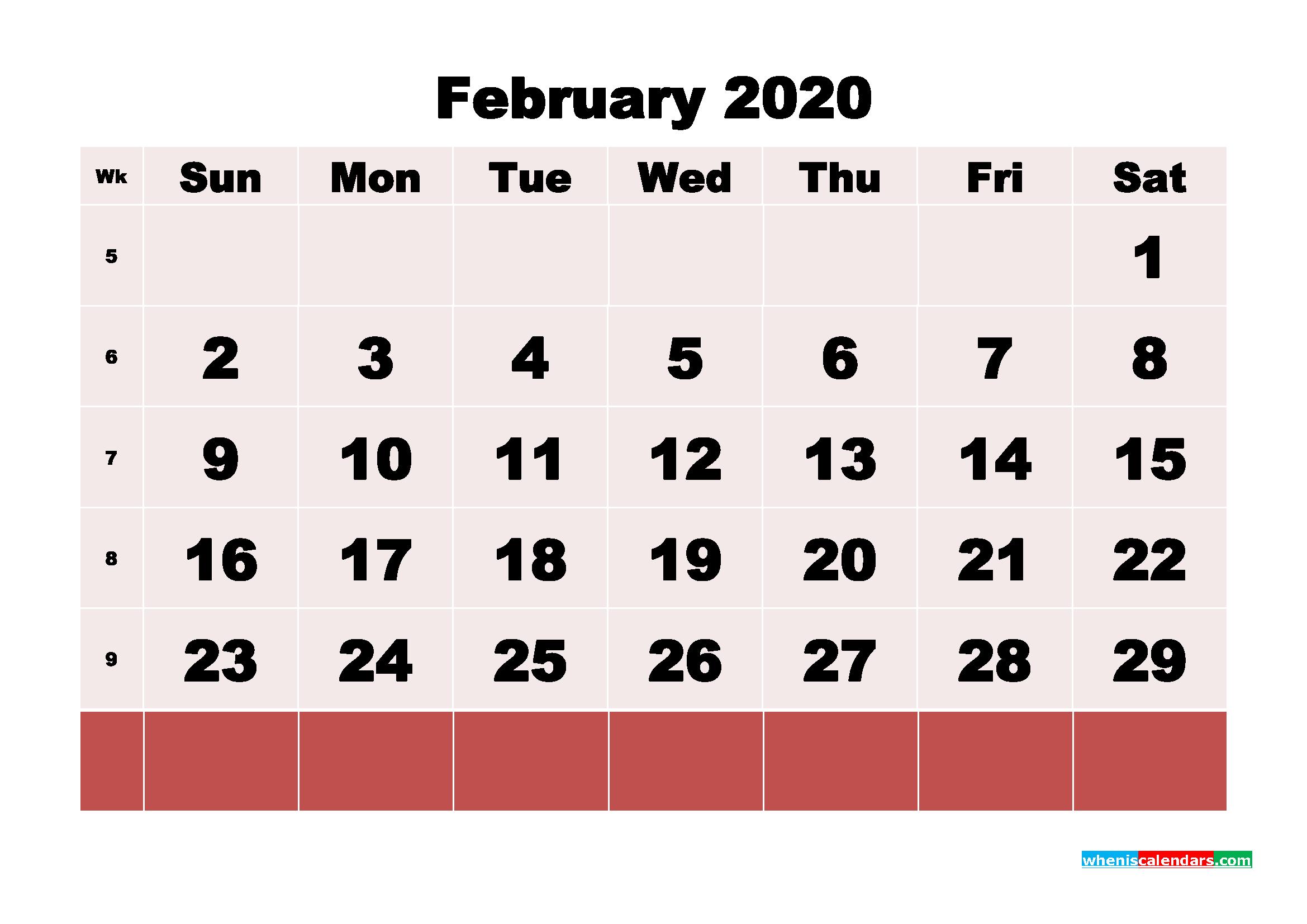 Free Blank Calendar February 2020 Printable - No.m20b110