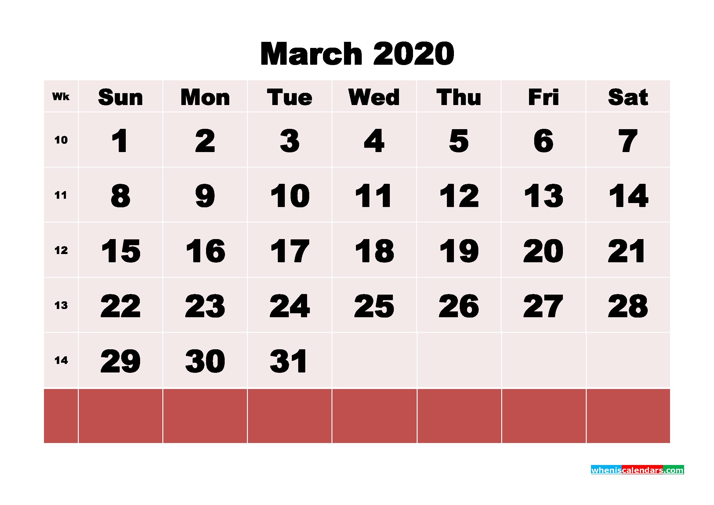 Free Blank Calendar March 2020 Printable - No.m20b111
