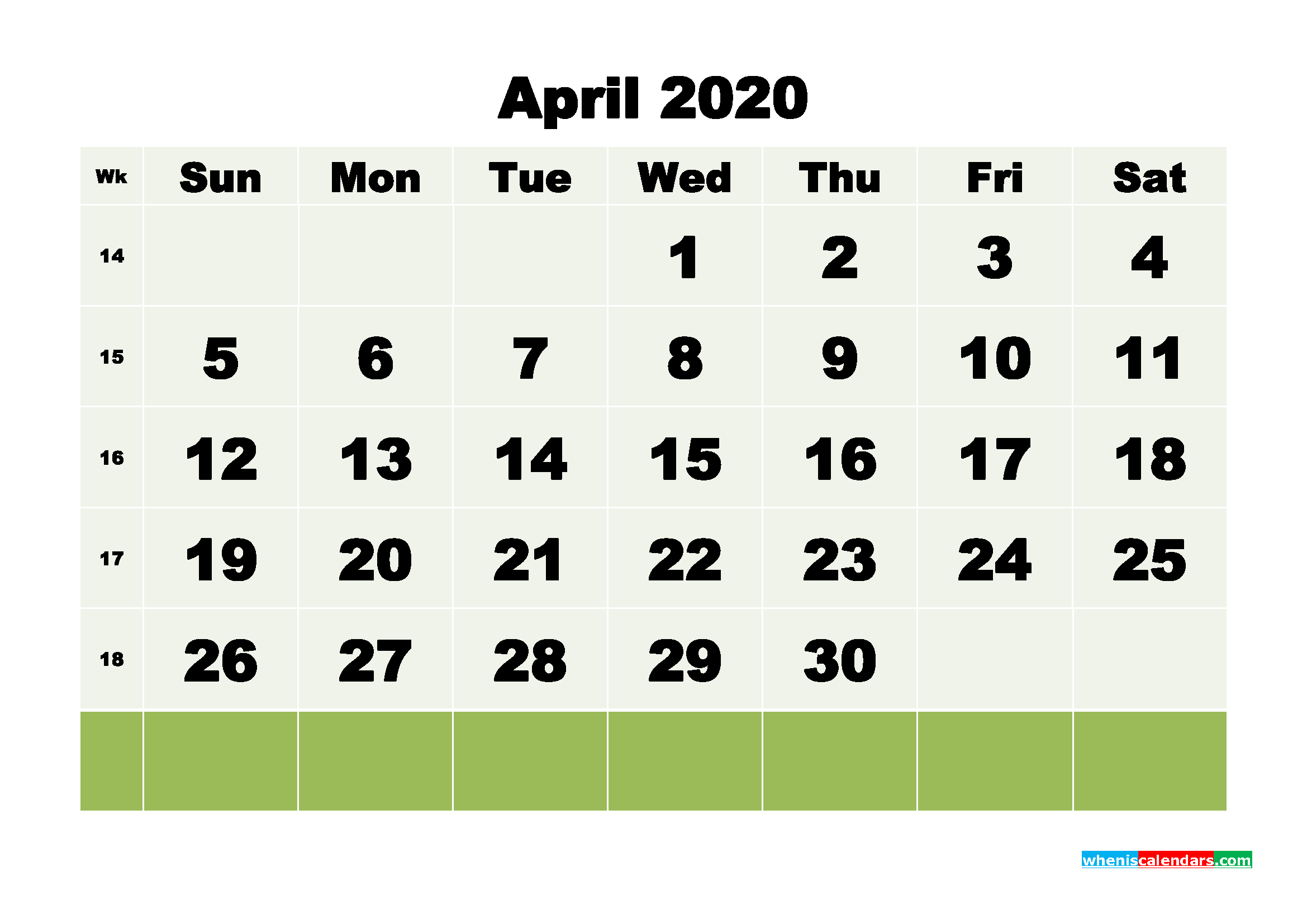 April 2020 Monthly Calendar Template Word