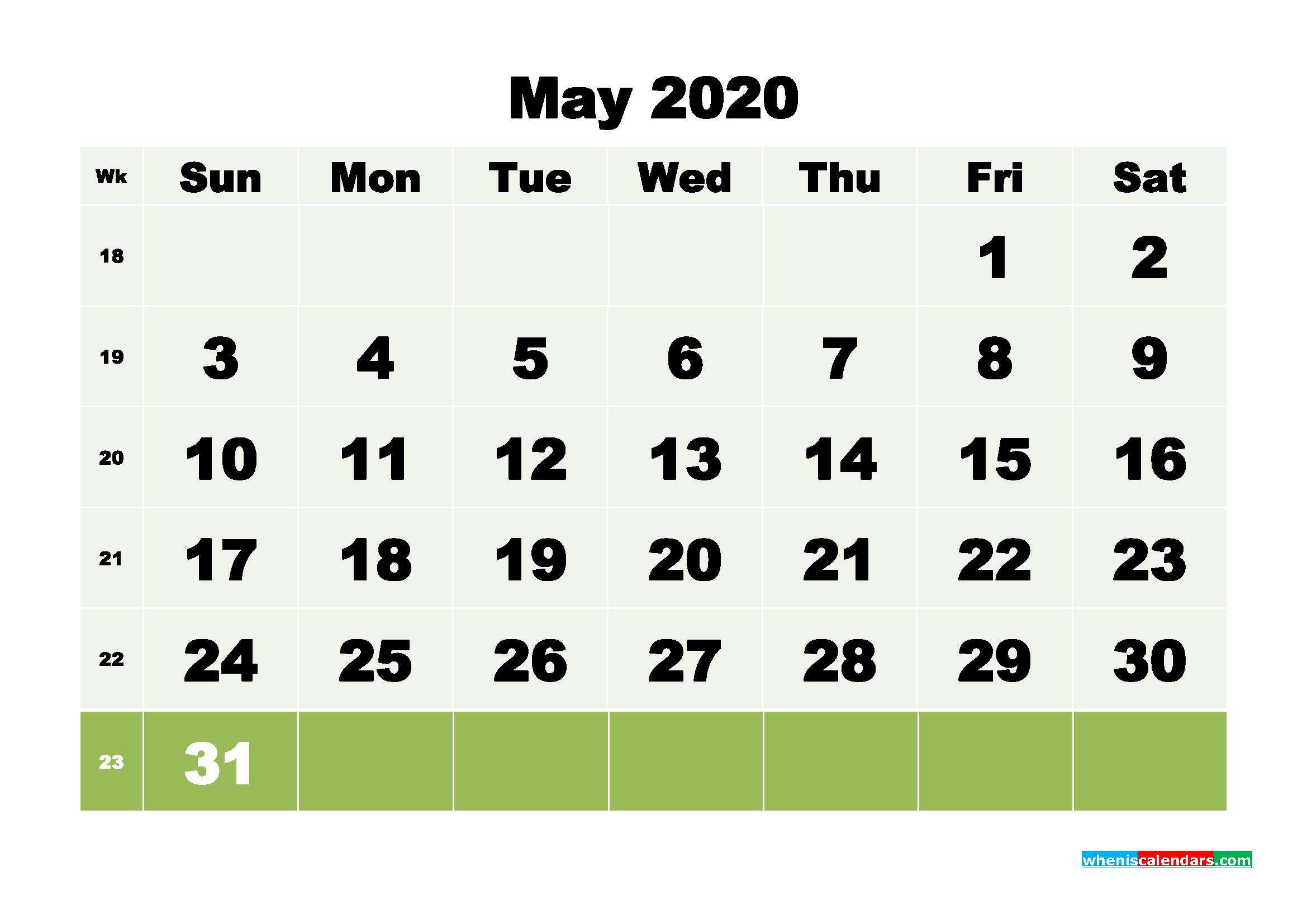 Free Blank Calendar May 2020 Printable - No.m20b113