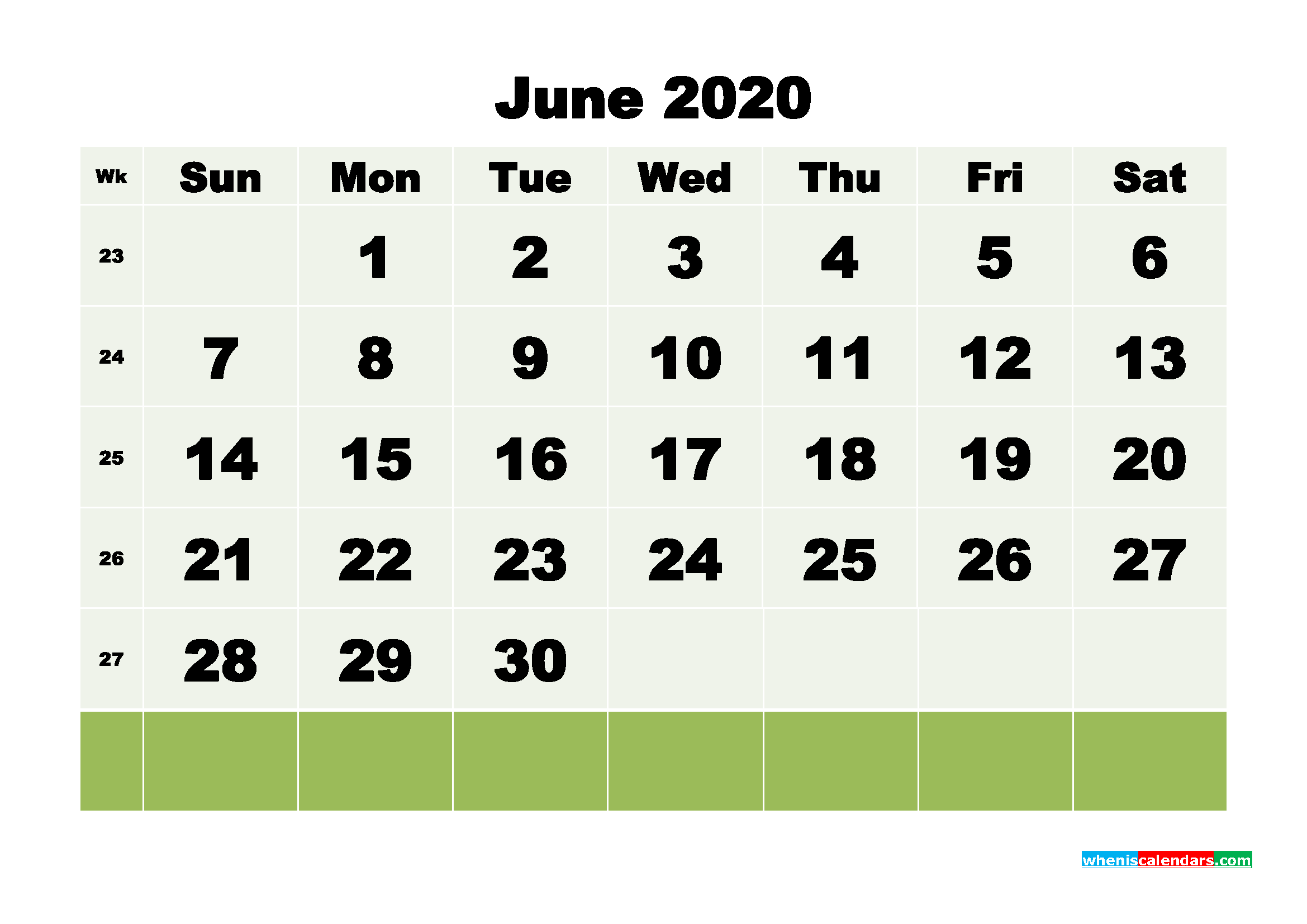 Free Blank Calendar June 2020 Printable - No.m20b114