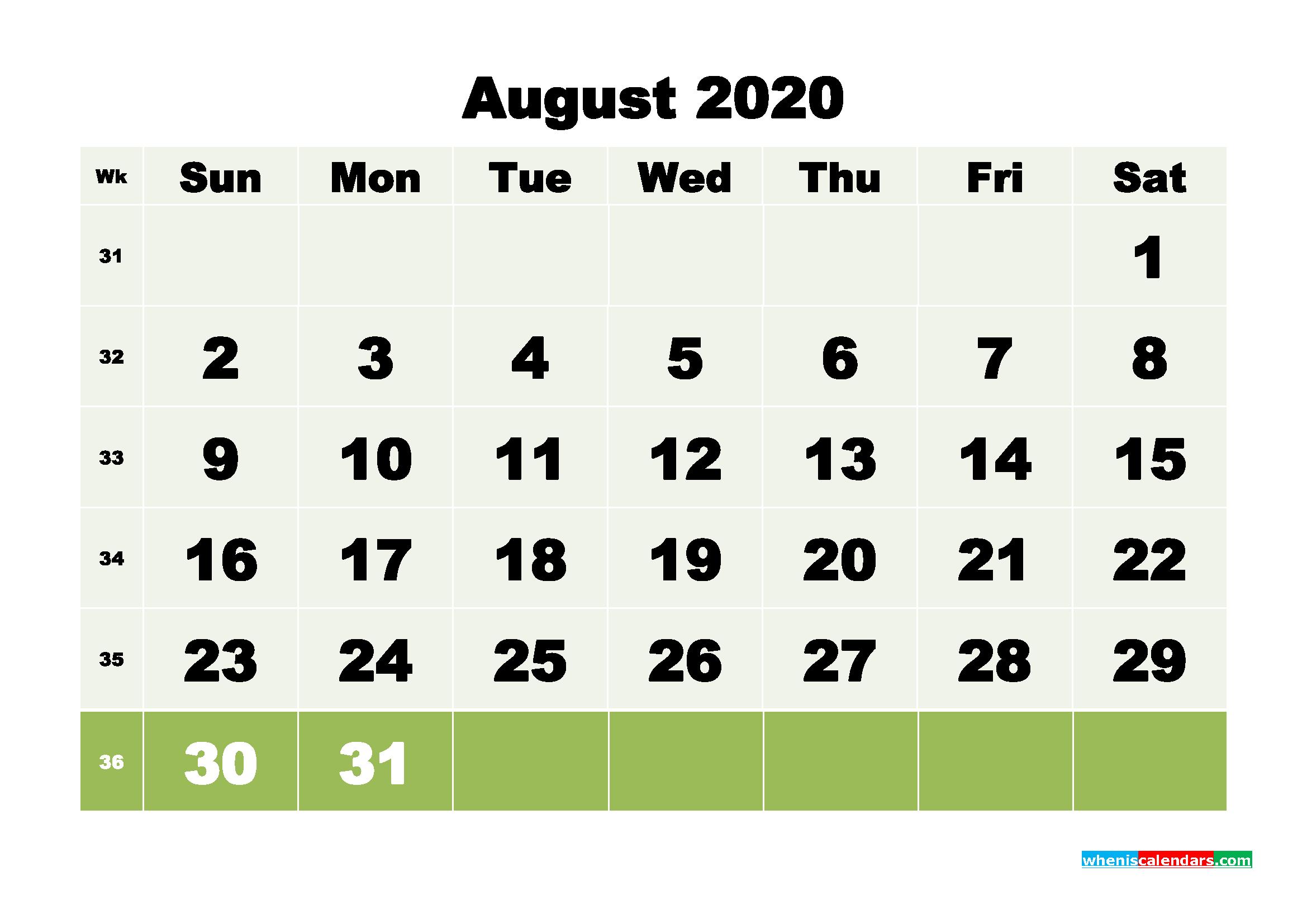 Free Blank Calendar August 2020 Printable - No.m20b116