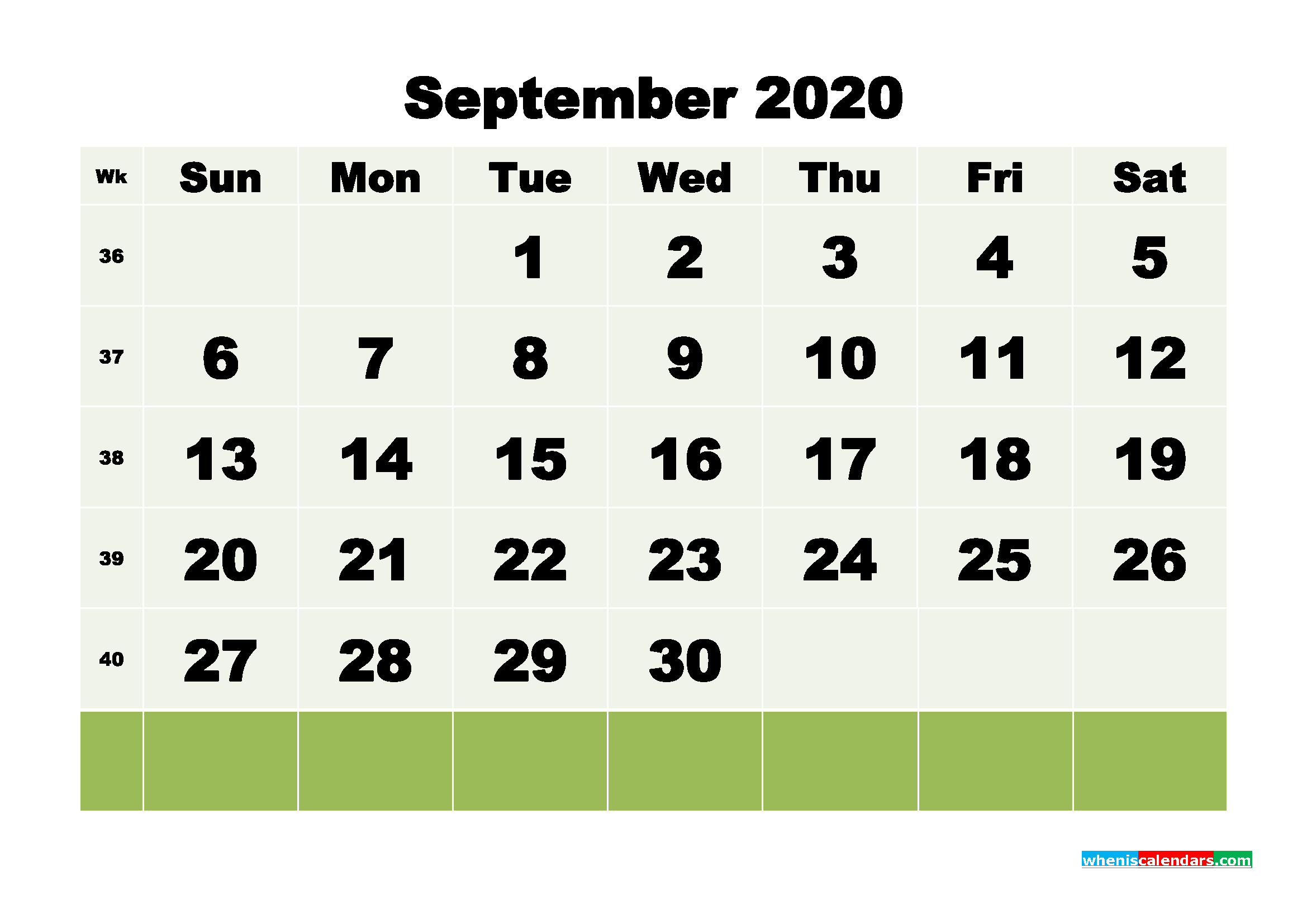 Free Blank Calendar September 2020 Printable - No.m20b117