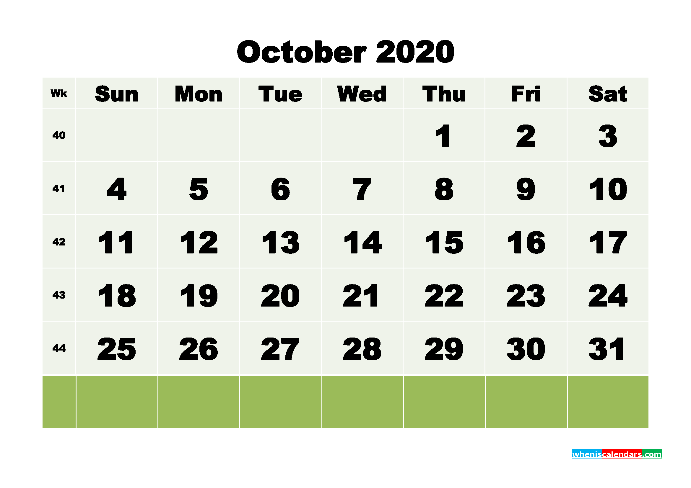 Free Blank Calendar October 2020 Printable - No.m20b118
