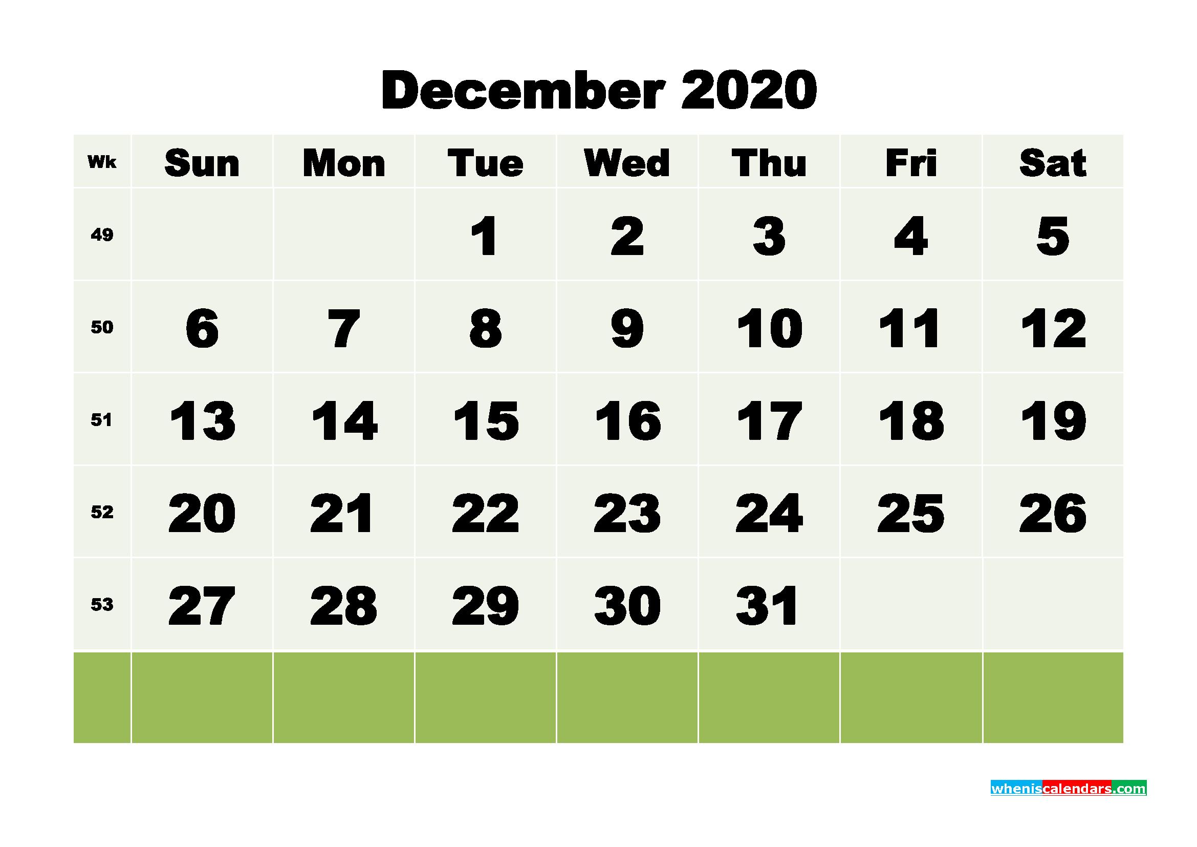 Free Blank Calendar December 2020 Printable - No.m20b120