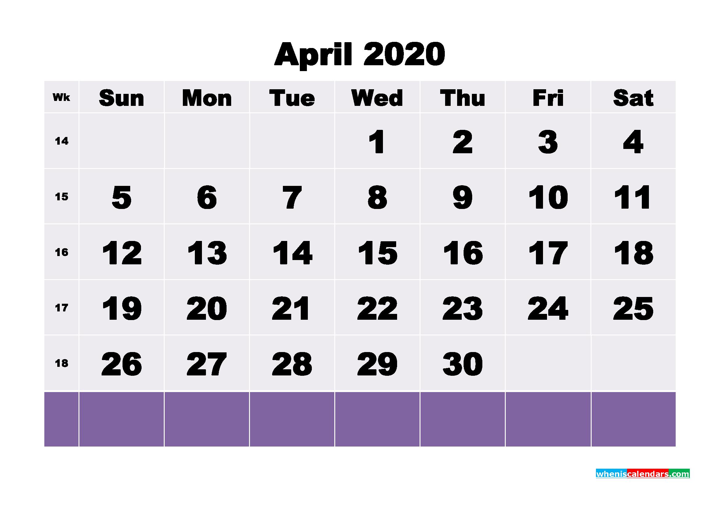 Blank April 2020 Calendar Printable - No.m20b124