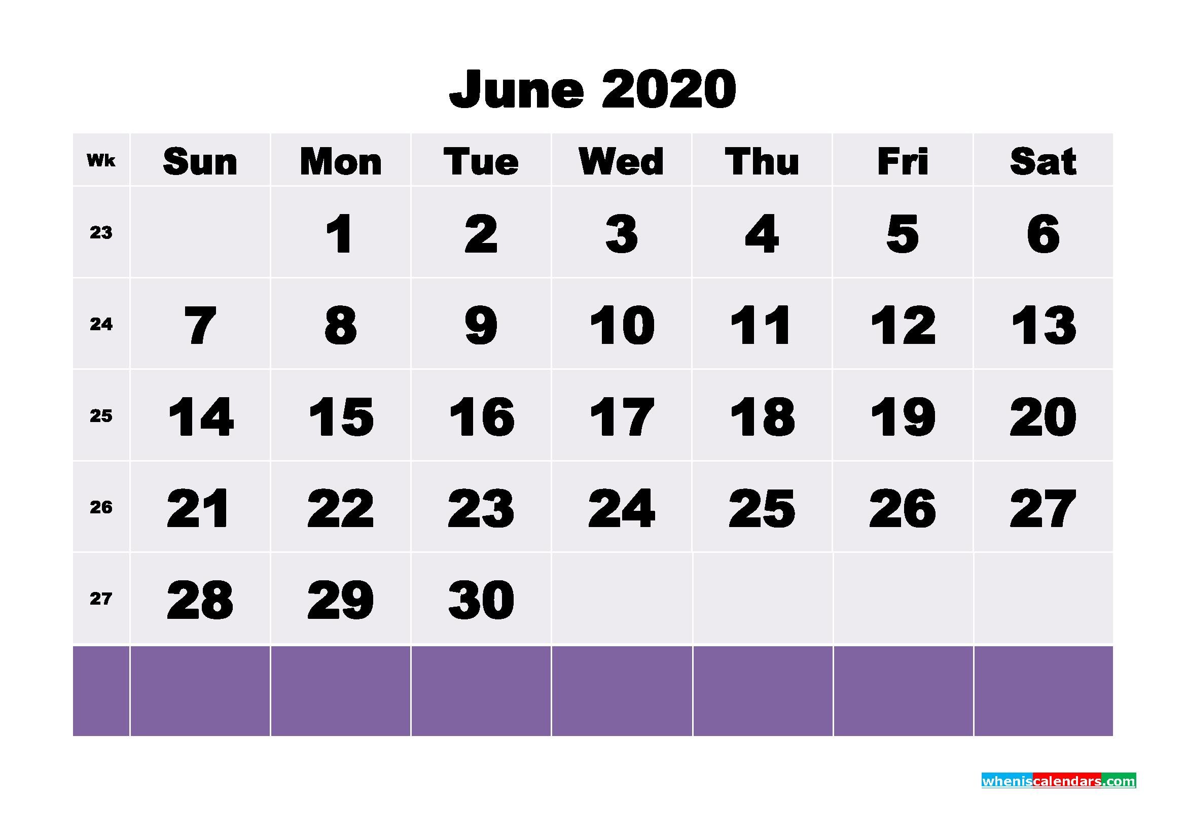 Blank June 2020 Calendar Printable - No.m20b126