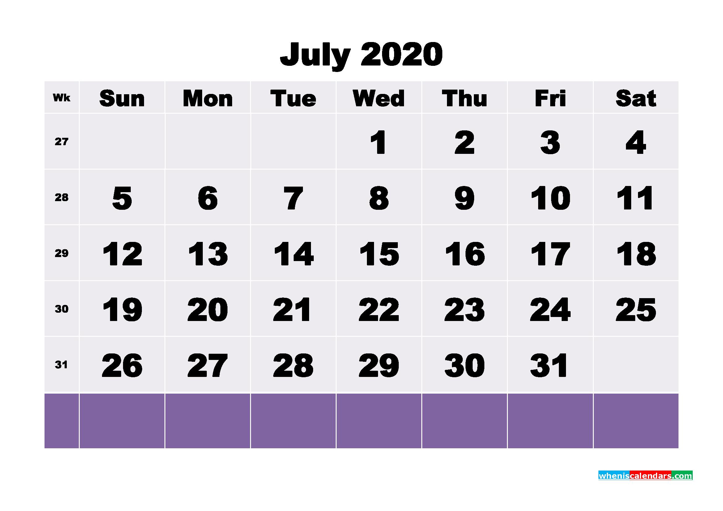Blank July 2020 Calendar Printable - No.m20b127