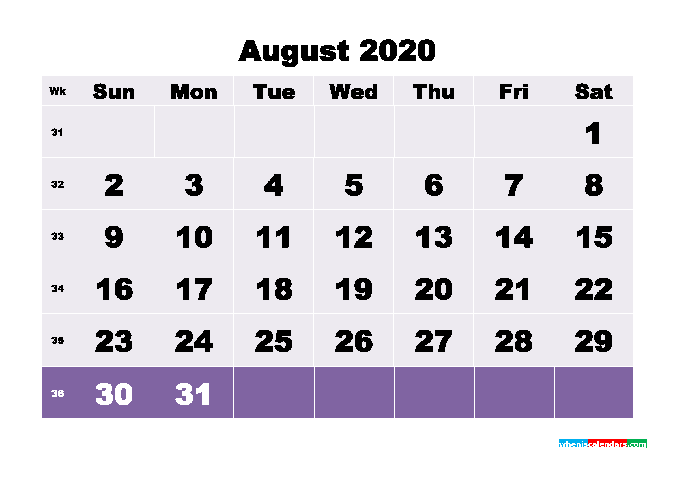 Monthly Printable Calendar 2020 August with Week Numbers