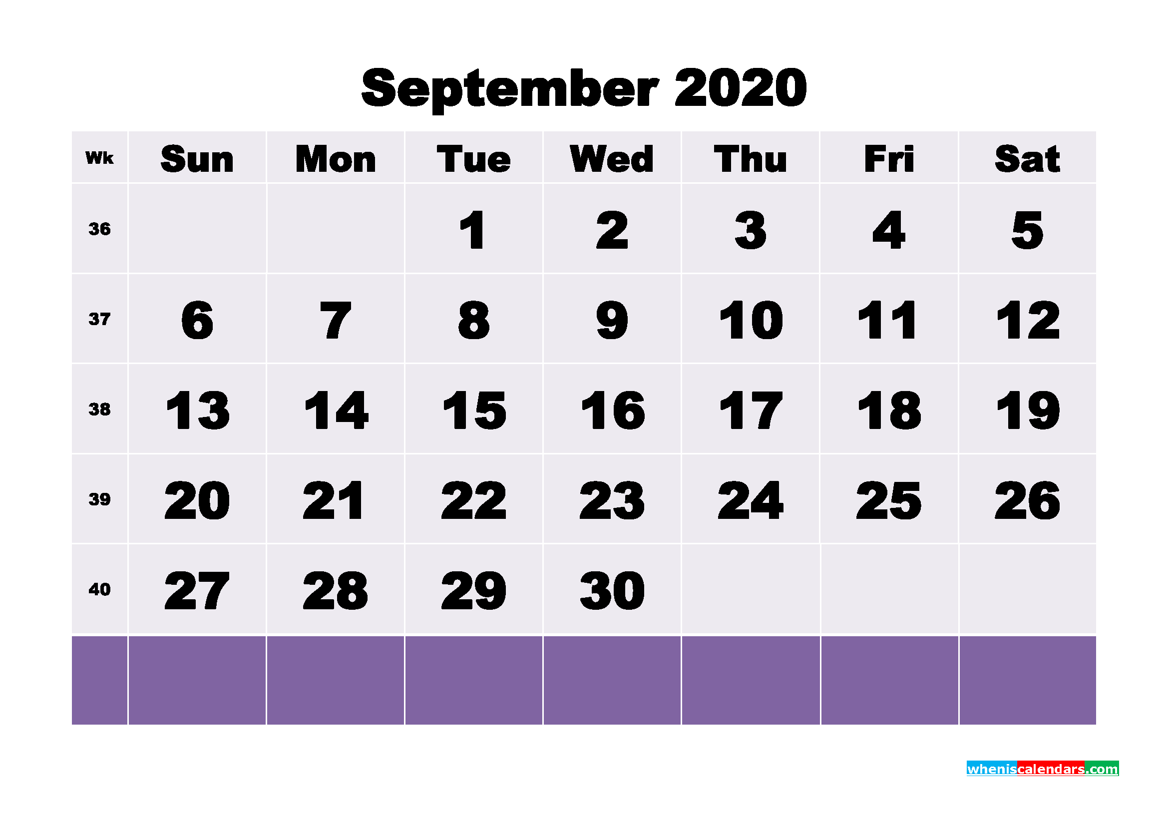 Blank September 2020 Calendar Printable - No.m20b129