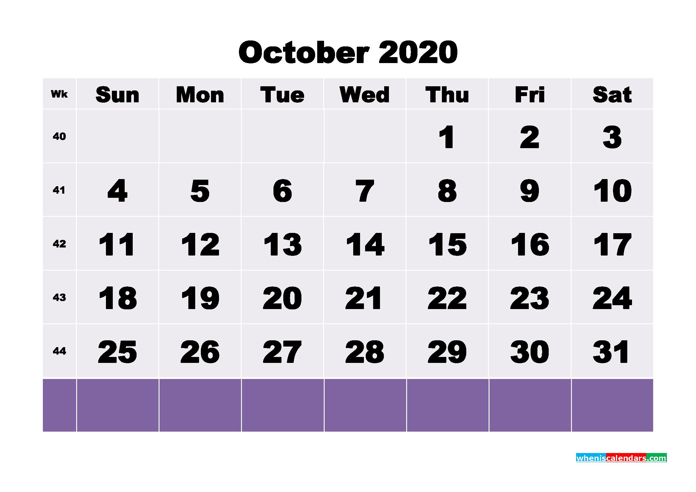 Blank October 2020 Calendar Printable - No.m20b130