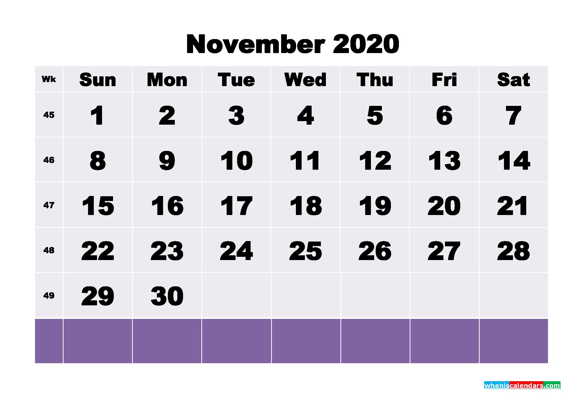 Blank November 2020 Calendar Printable - No.m20b131
