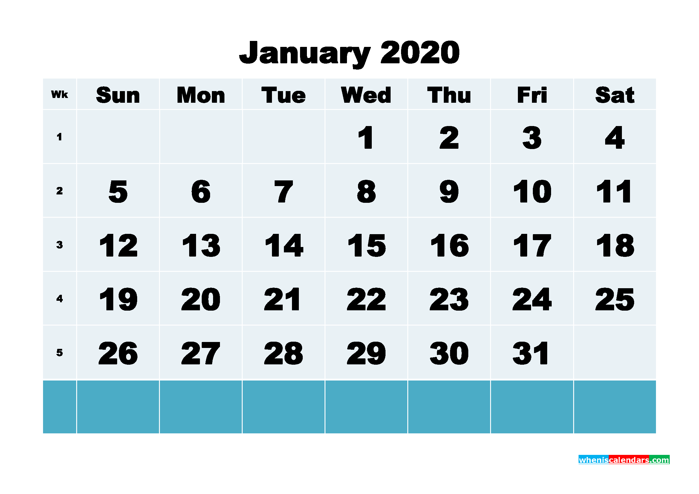Blank Calendar for January 2020 Printable Word Format