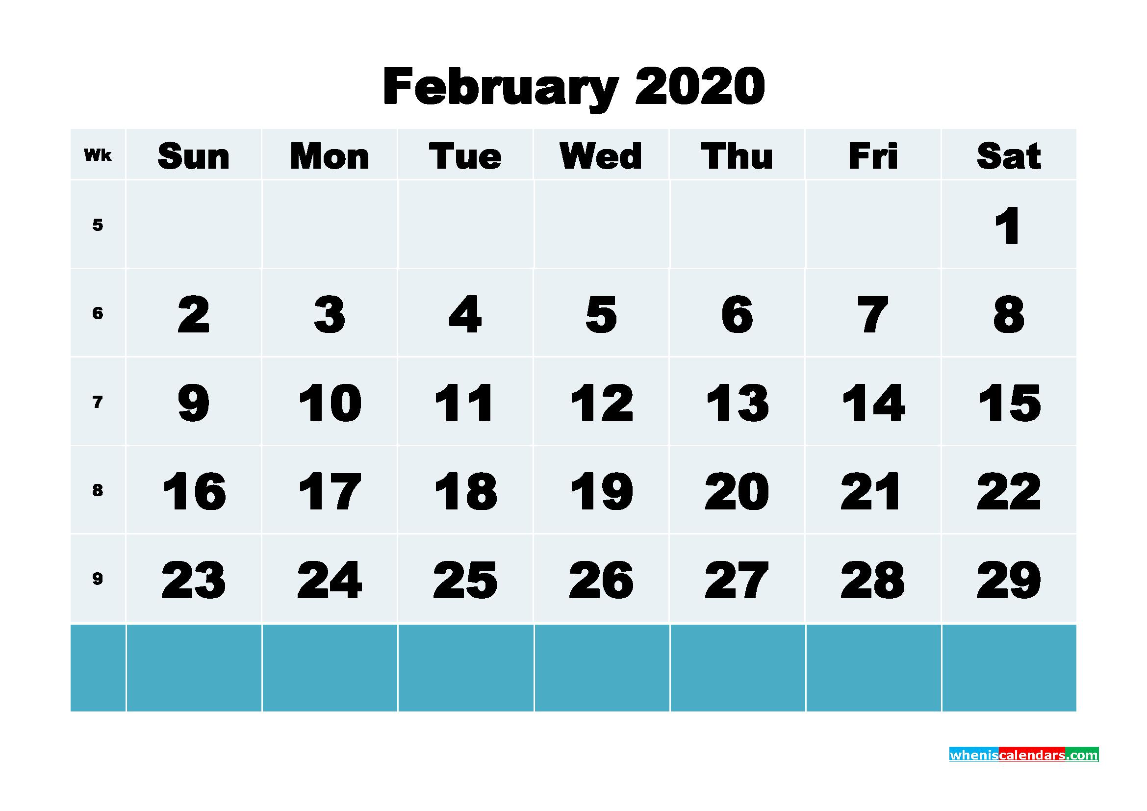 February 2020 Blank Calendar Printable - No.m20b134