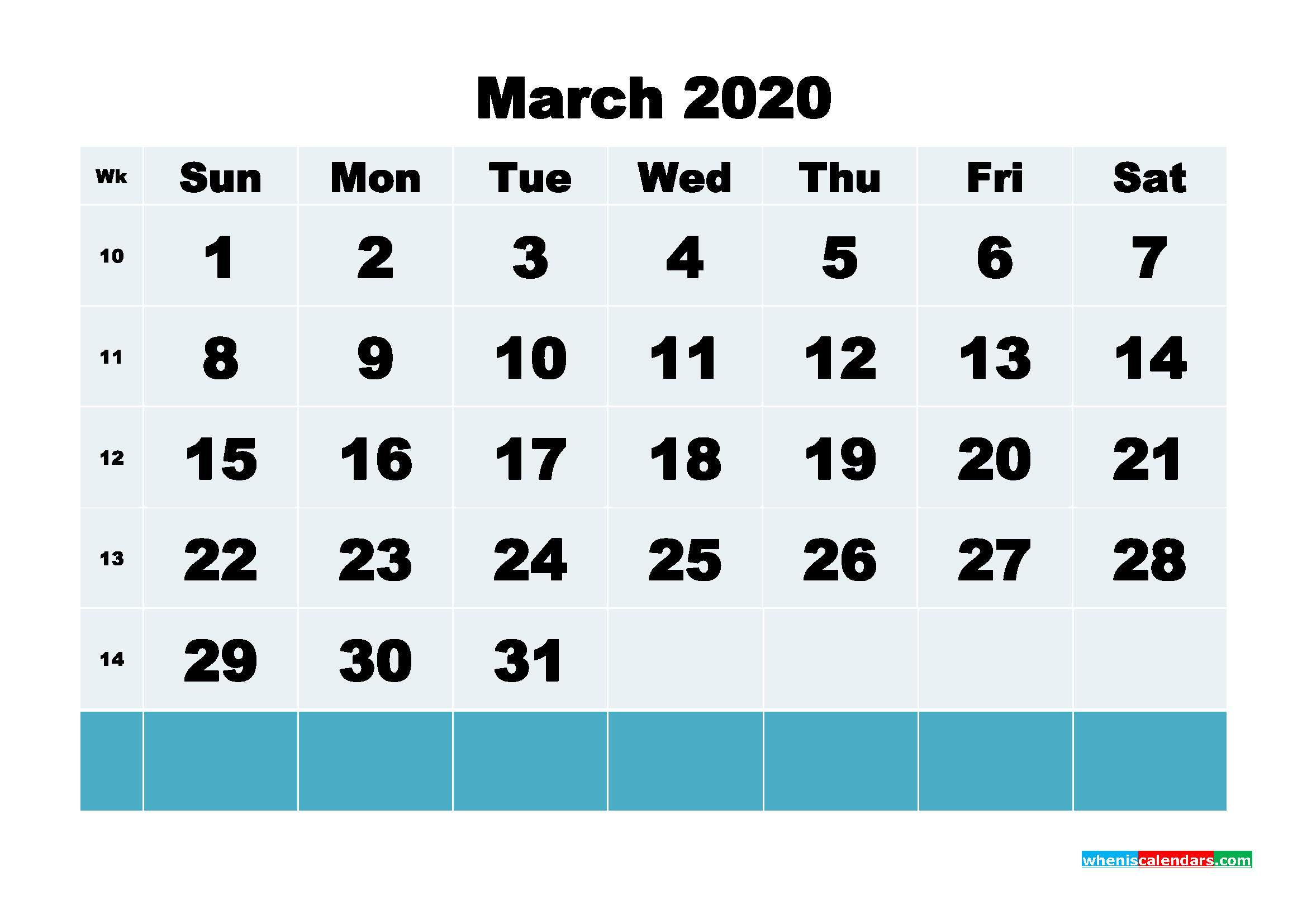 March 2020 Blank Calendar Printable - No.m20b135