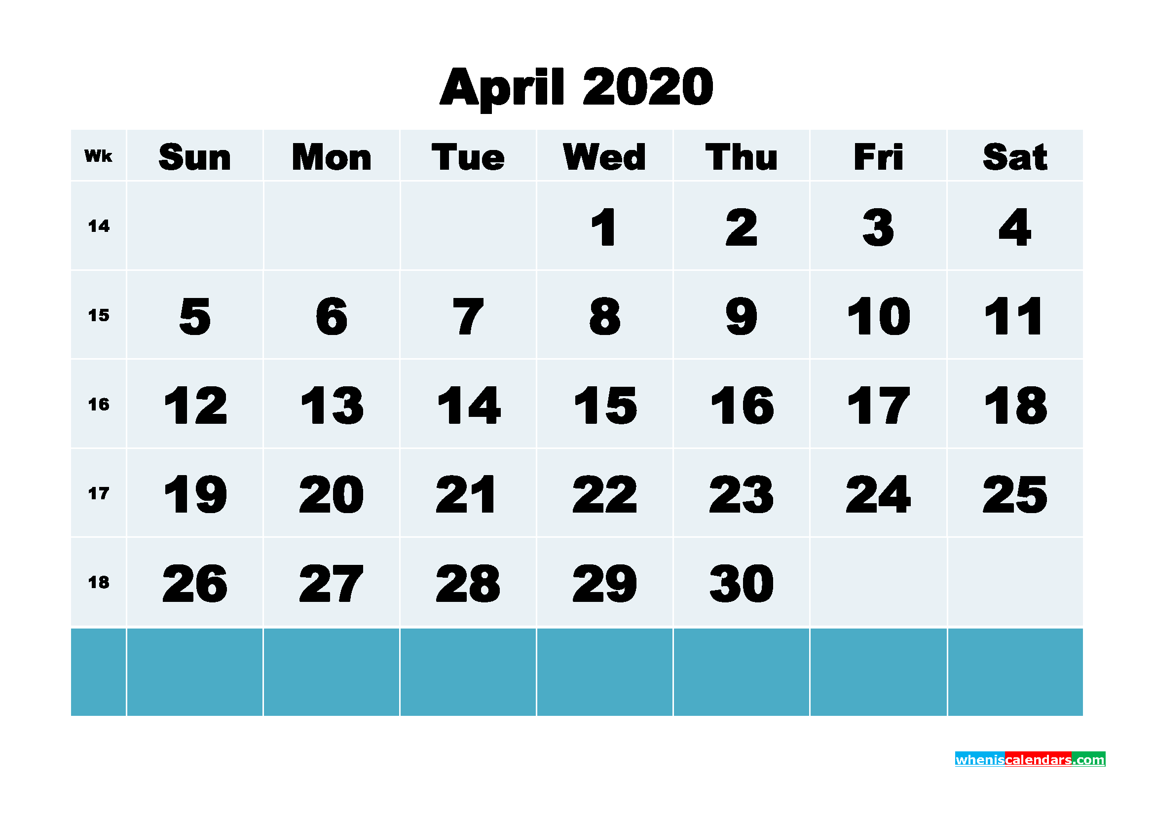 Printable 2020 Monthly Calendar with Week Numbers April