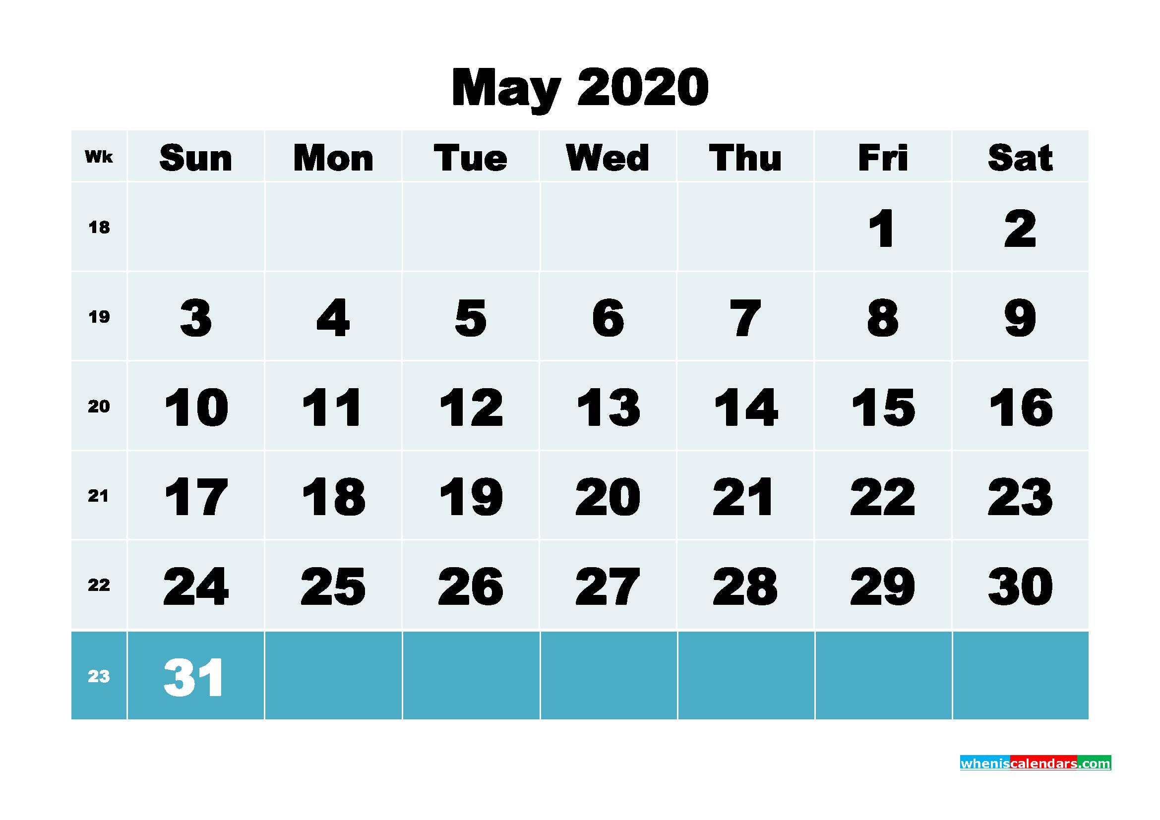 May 2020 Blank Calendar Printable - No.m20b137