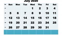 Printable 2020 Monthly Calendar with Week Numbers July