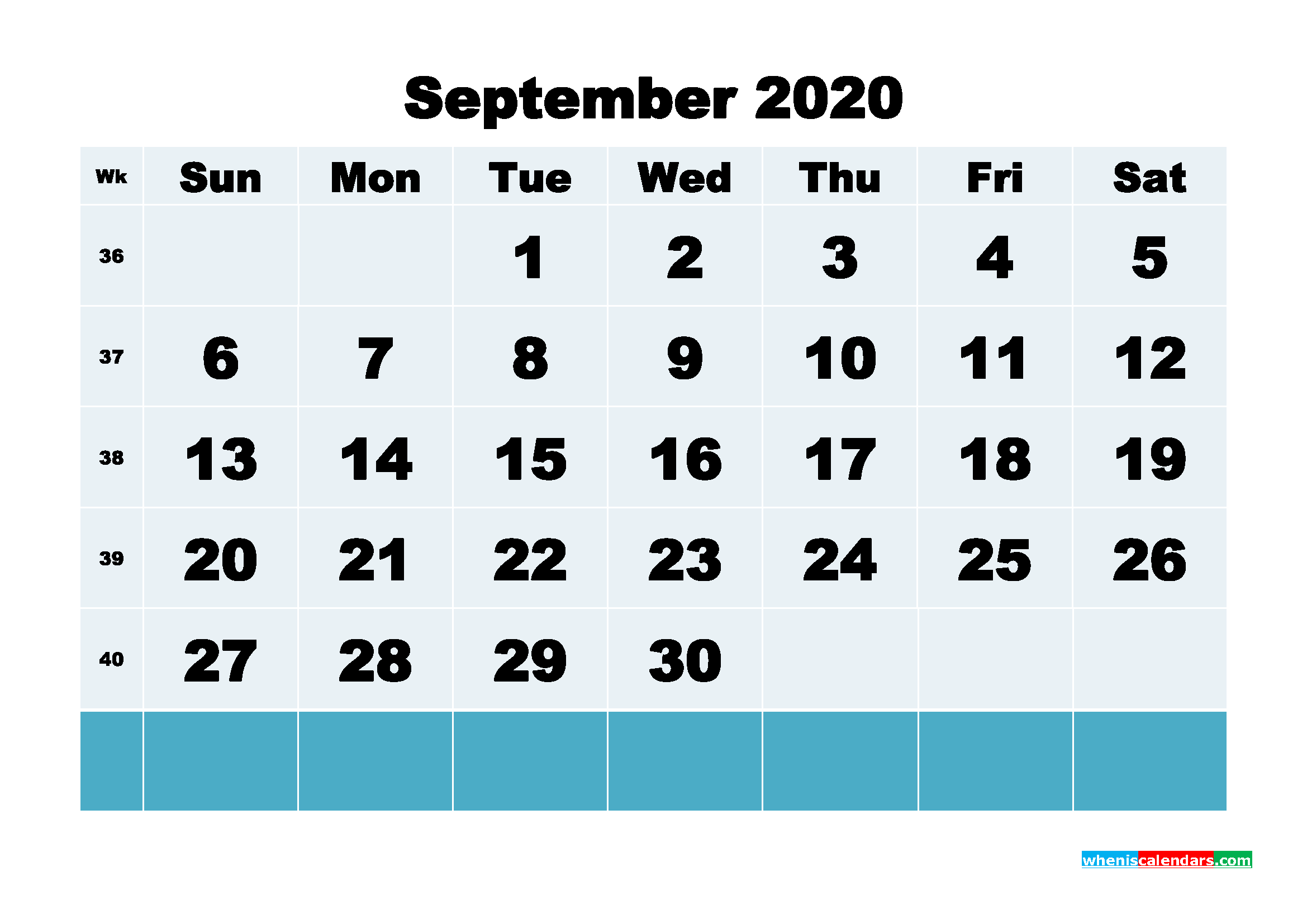 September 2020 Blank Calendar Printable - No.m20b141