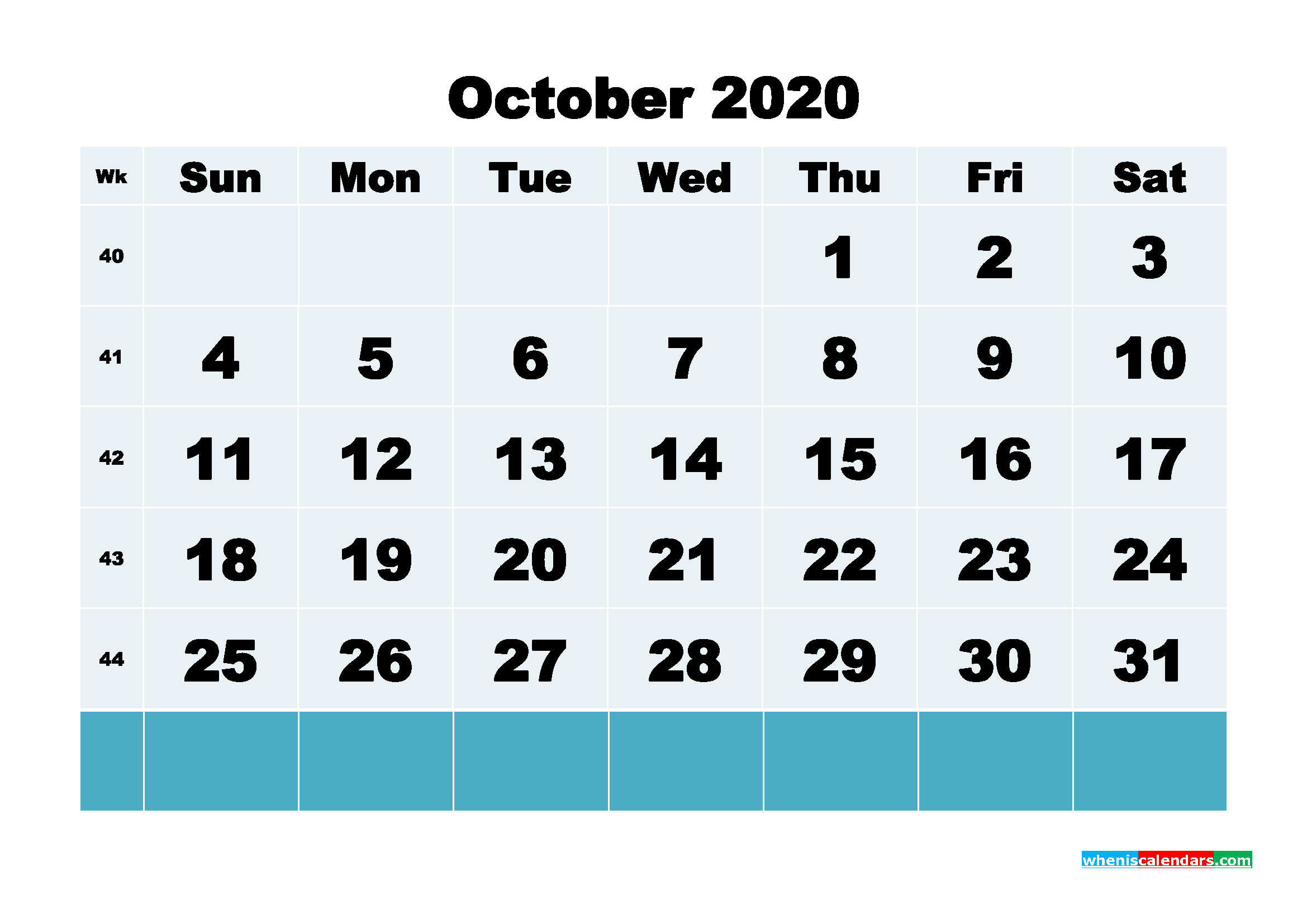 October 2020 Blank Calendar Printable - No.m20b142
