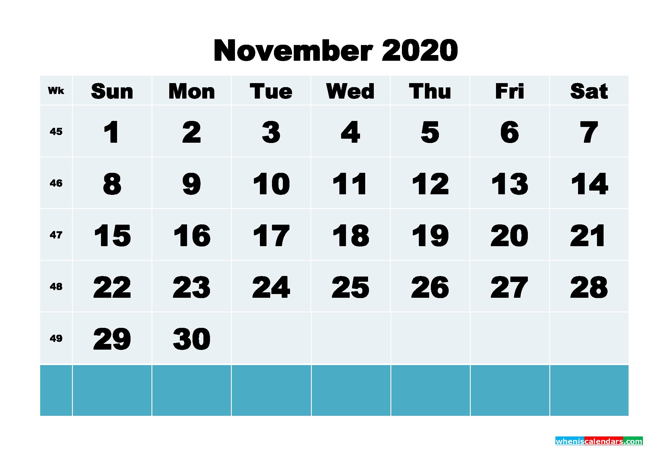 November 2020 Blank Calendar Printable - No.m20b143