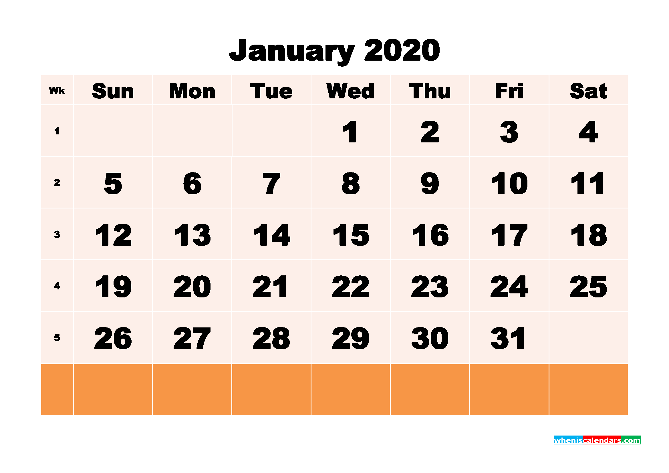 Free Printable Calendar January 2020 PDF, Word - No.m20b145
