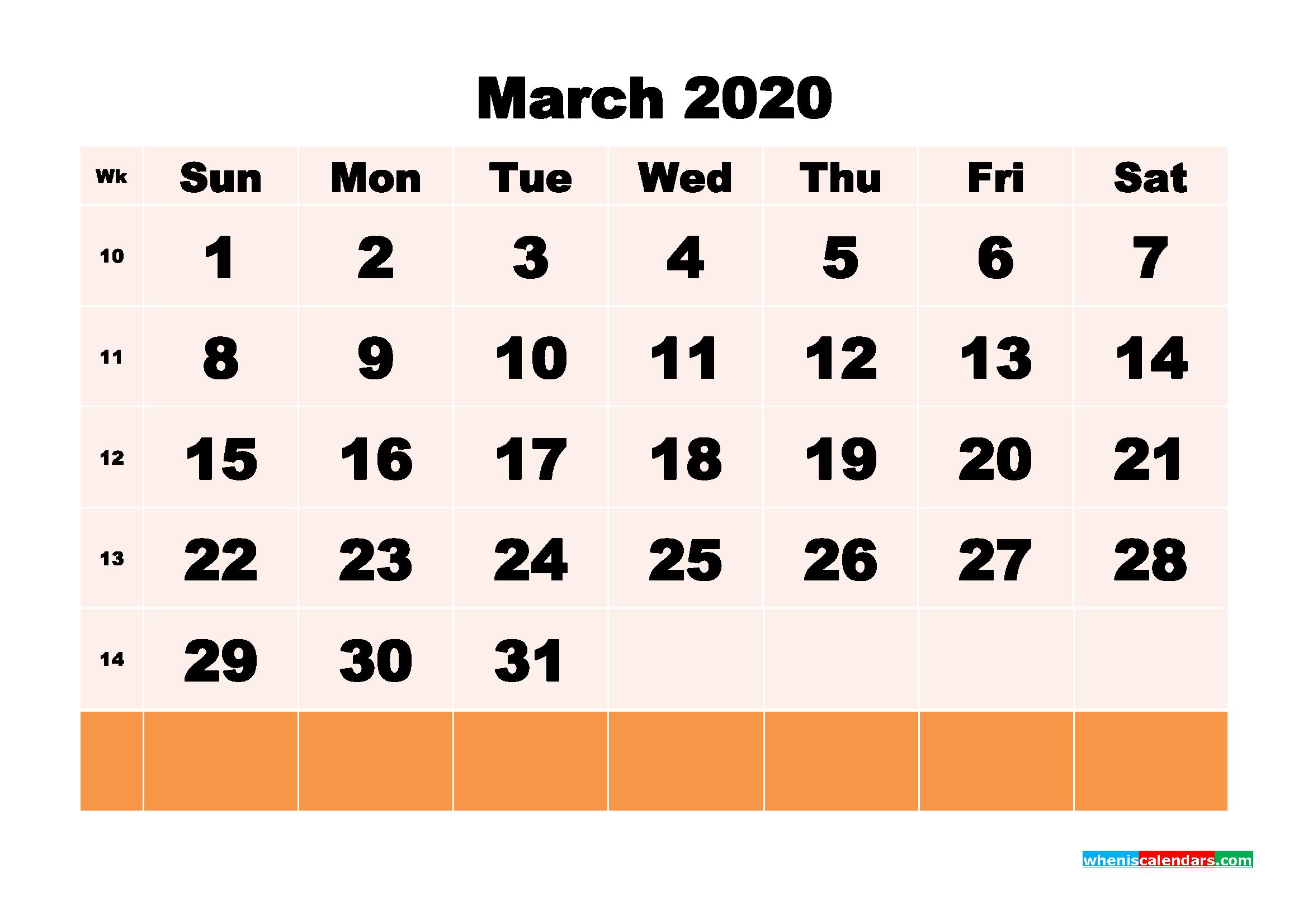 Free Printable Calendar March 2020 PDF, Word - No.m20b147