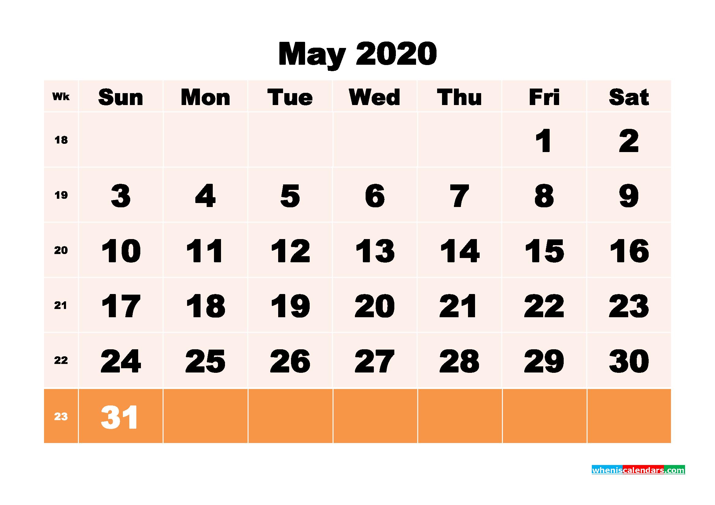 Free Printable Calendar May 2020 PDF, Word - No.m20b149