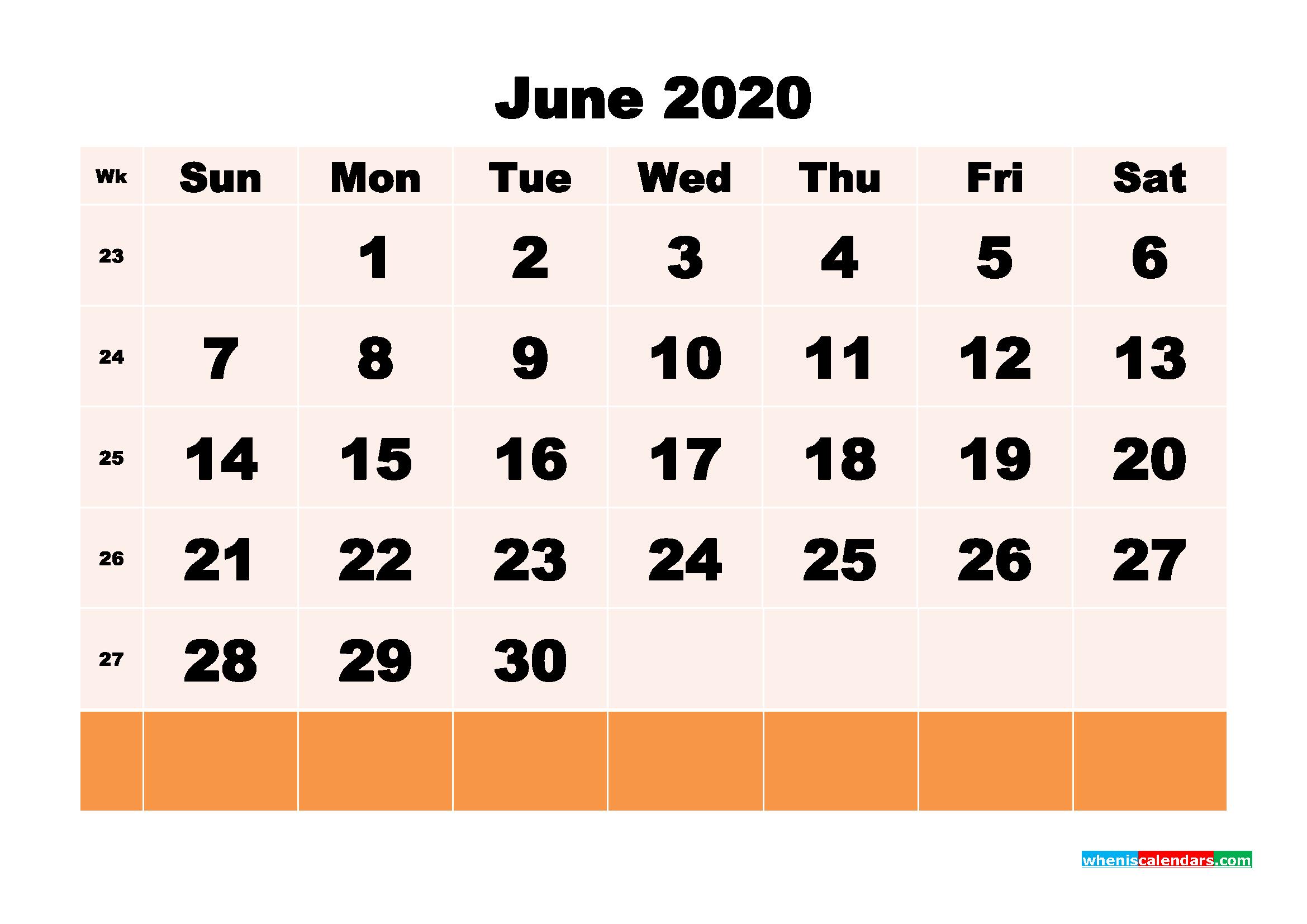 Free Printable Calendar June 2020 PDF, Word - No.m20b150