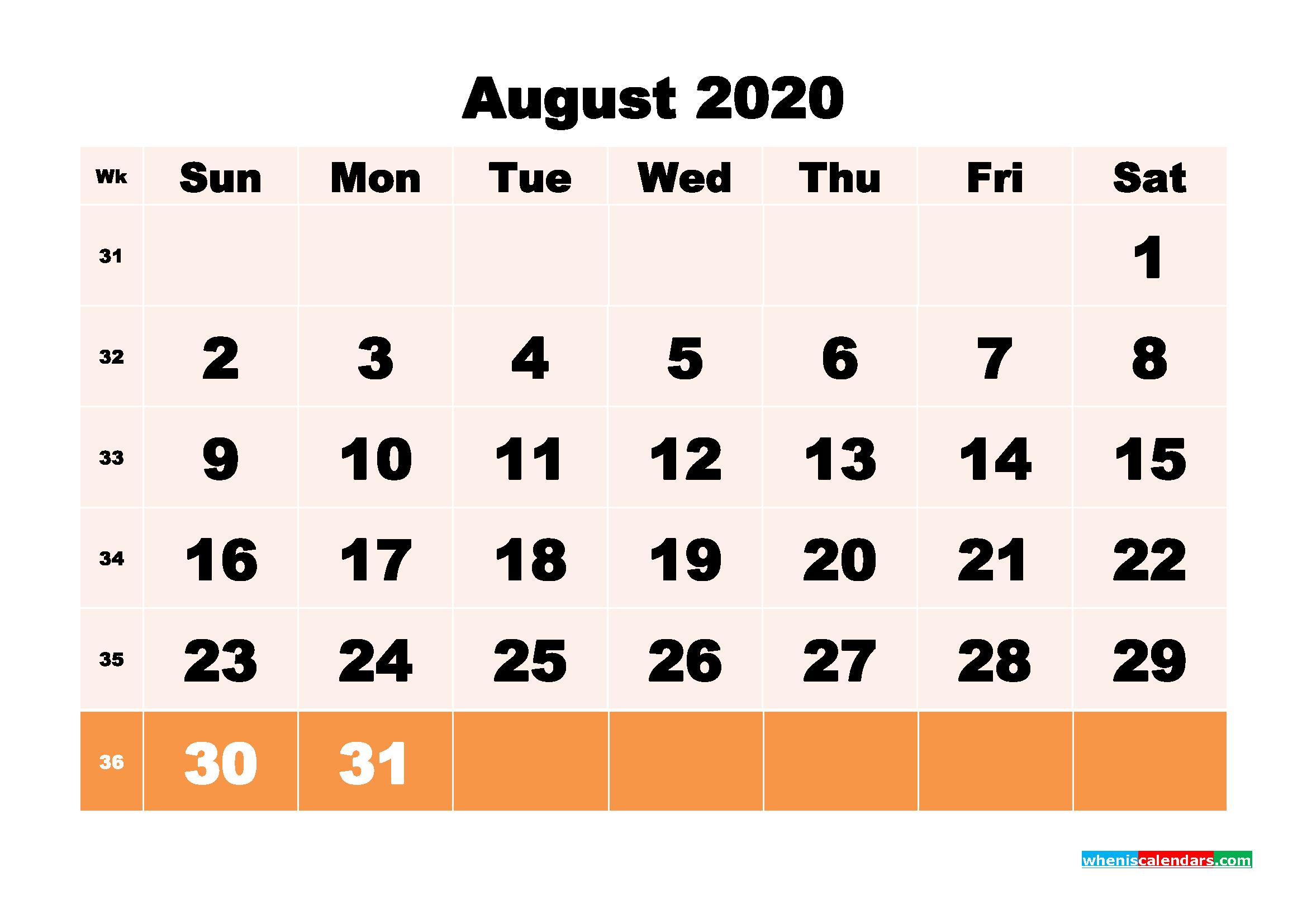 Free Printable Calendar August 2020 PDF, Word - No.m20b152