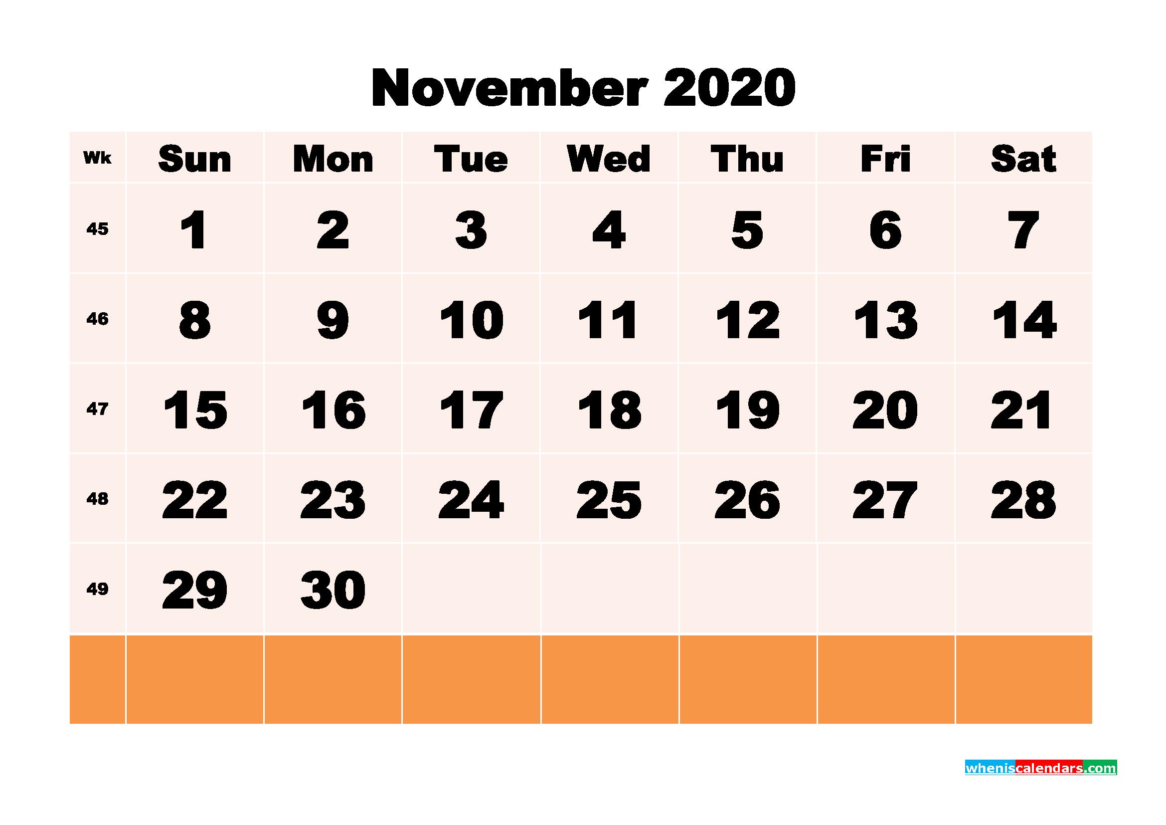Free Printable Calendar November 2020 PDF, Word - No.m20b155
