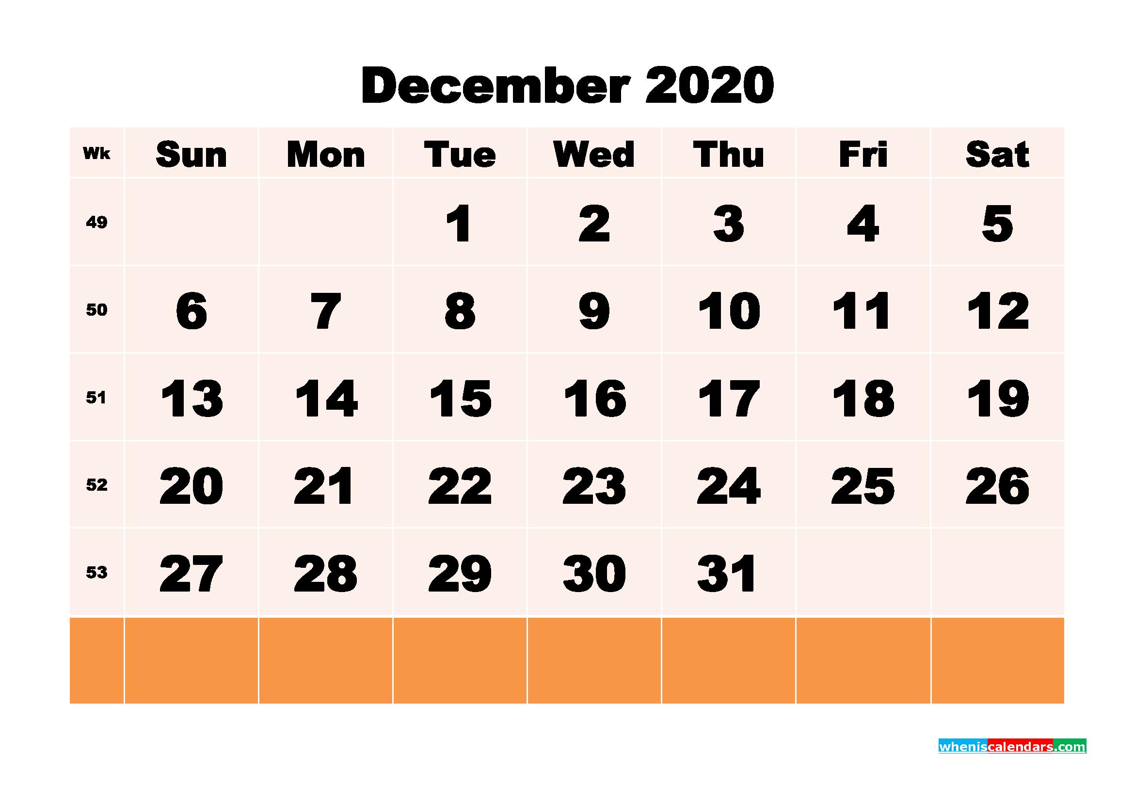 Free Printable Calendar December 2020 PDF, Word - No.m20b156