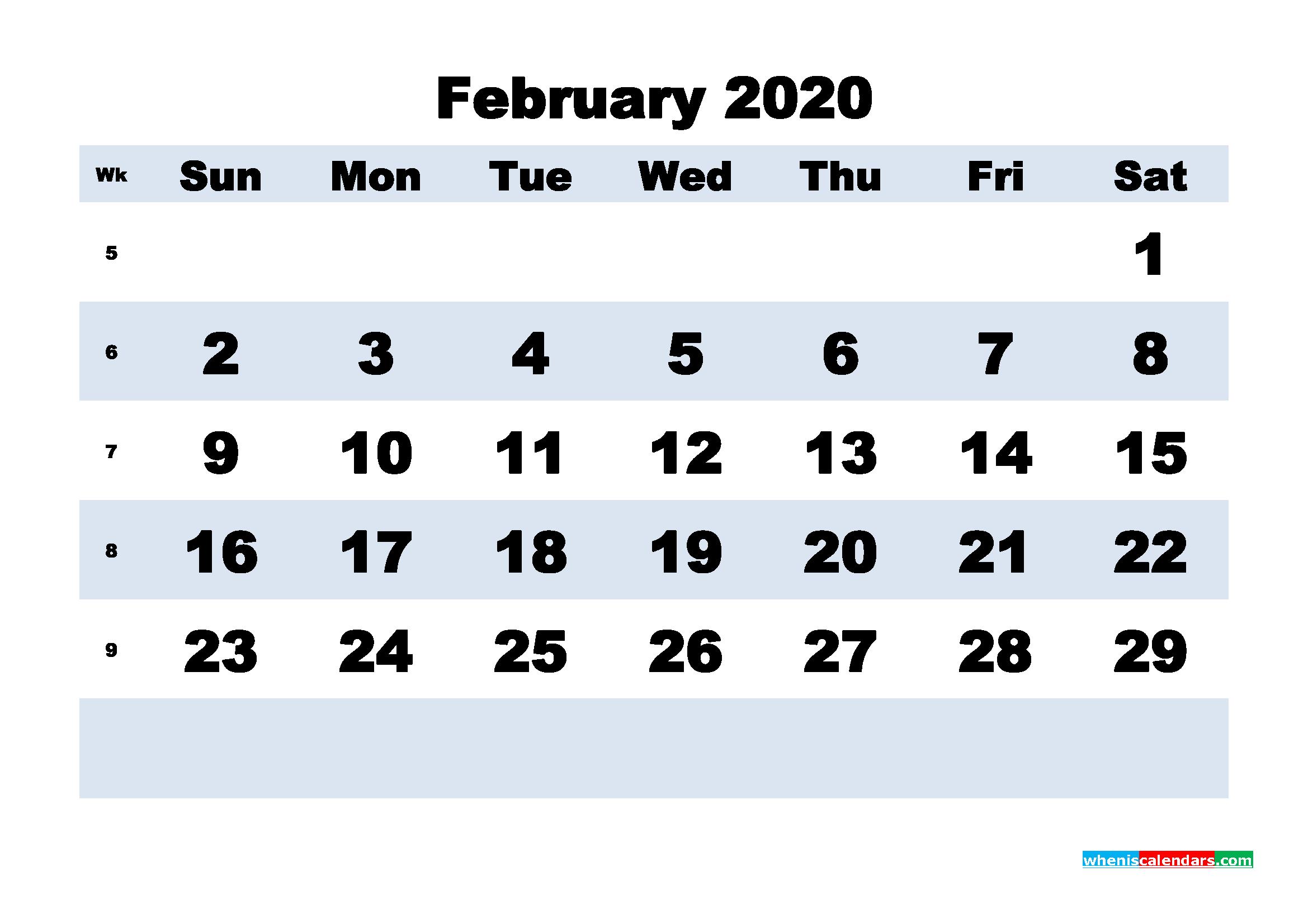 February Printable Calendar 2020 PDF, Word - No.m20b158