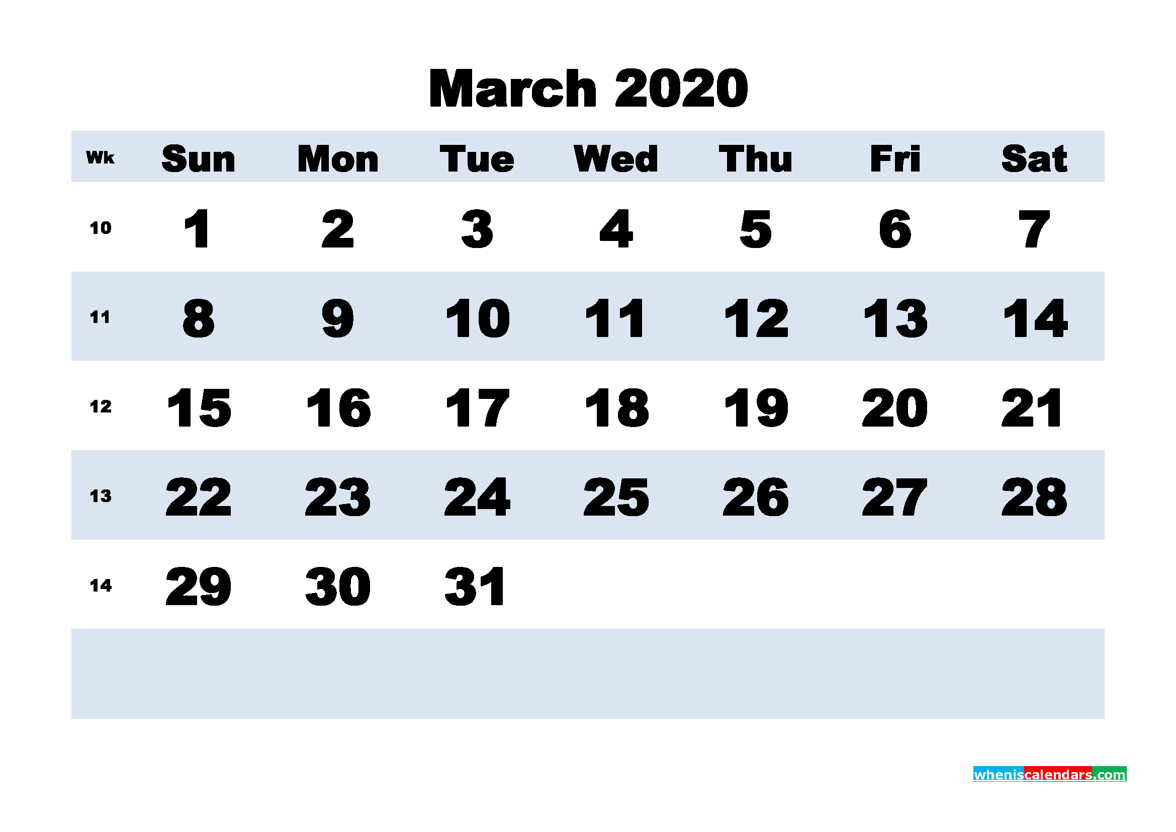 March 2020 Monthly Calendar Template Word