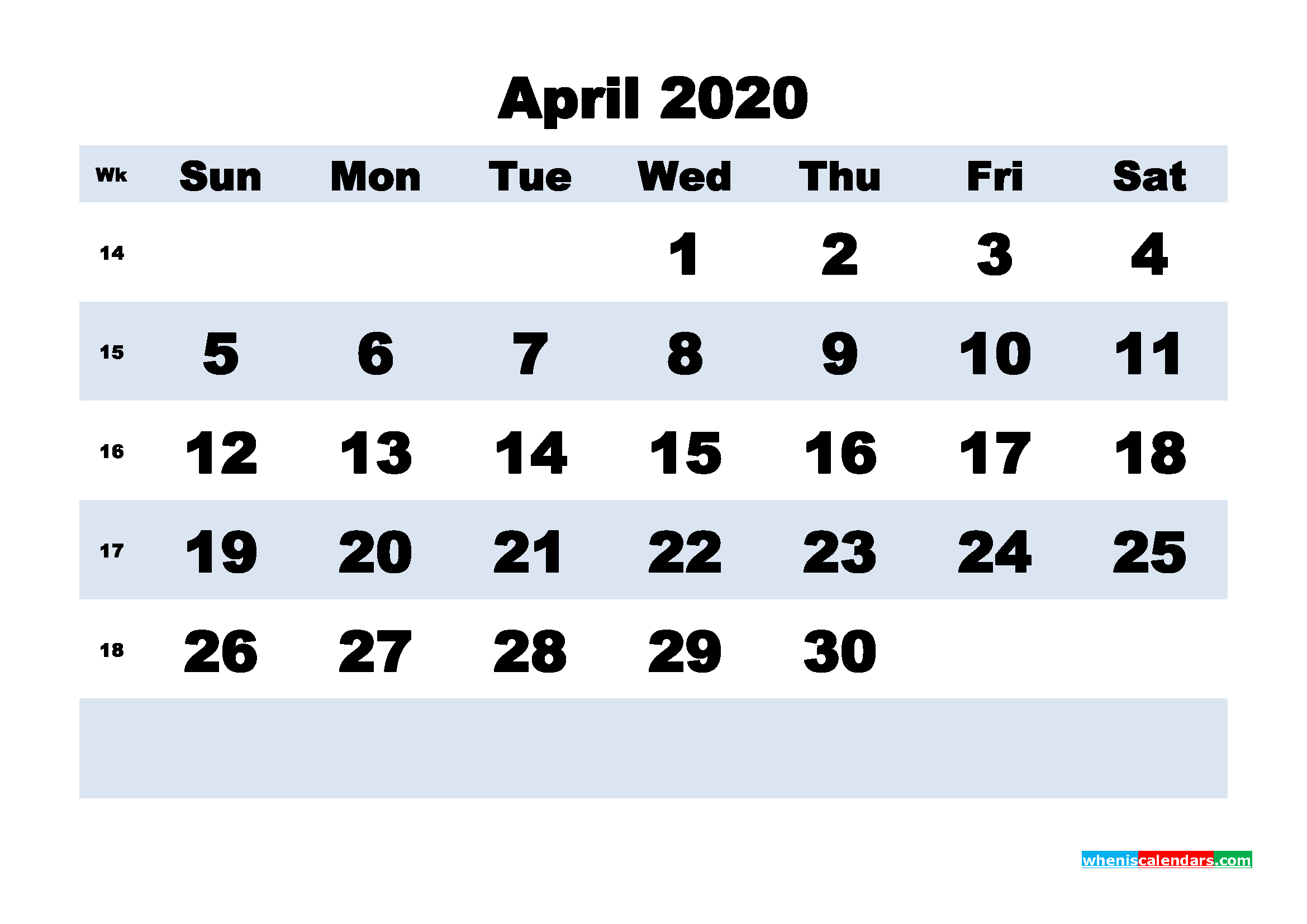 April Printable Calendar 2020 PDF, Word - No.m20b160